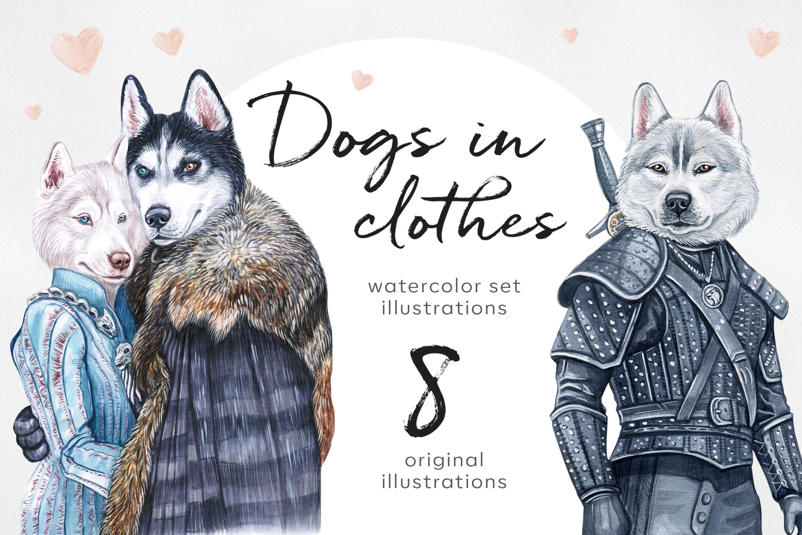 Dog in clothes. Watercolor set 8 exclusive dog illustrations