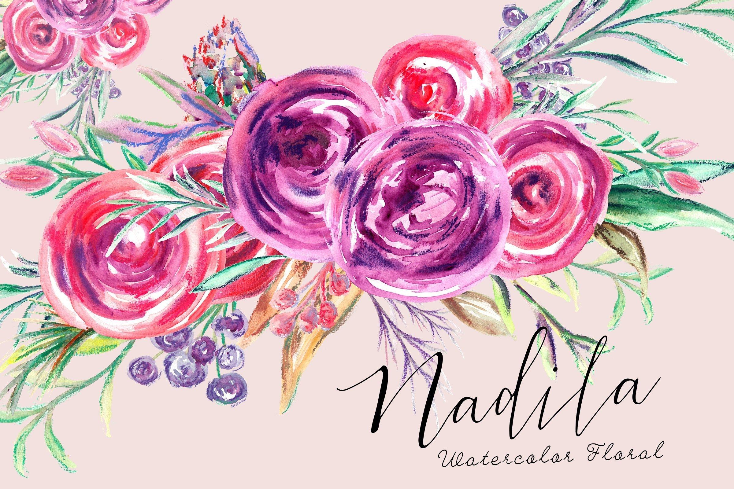 Nadila Watercolor Florals example image 1