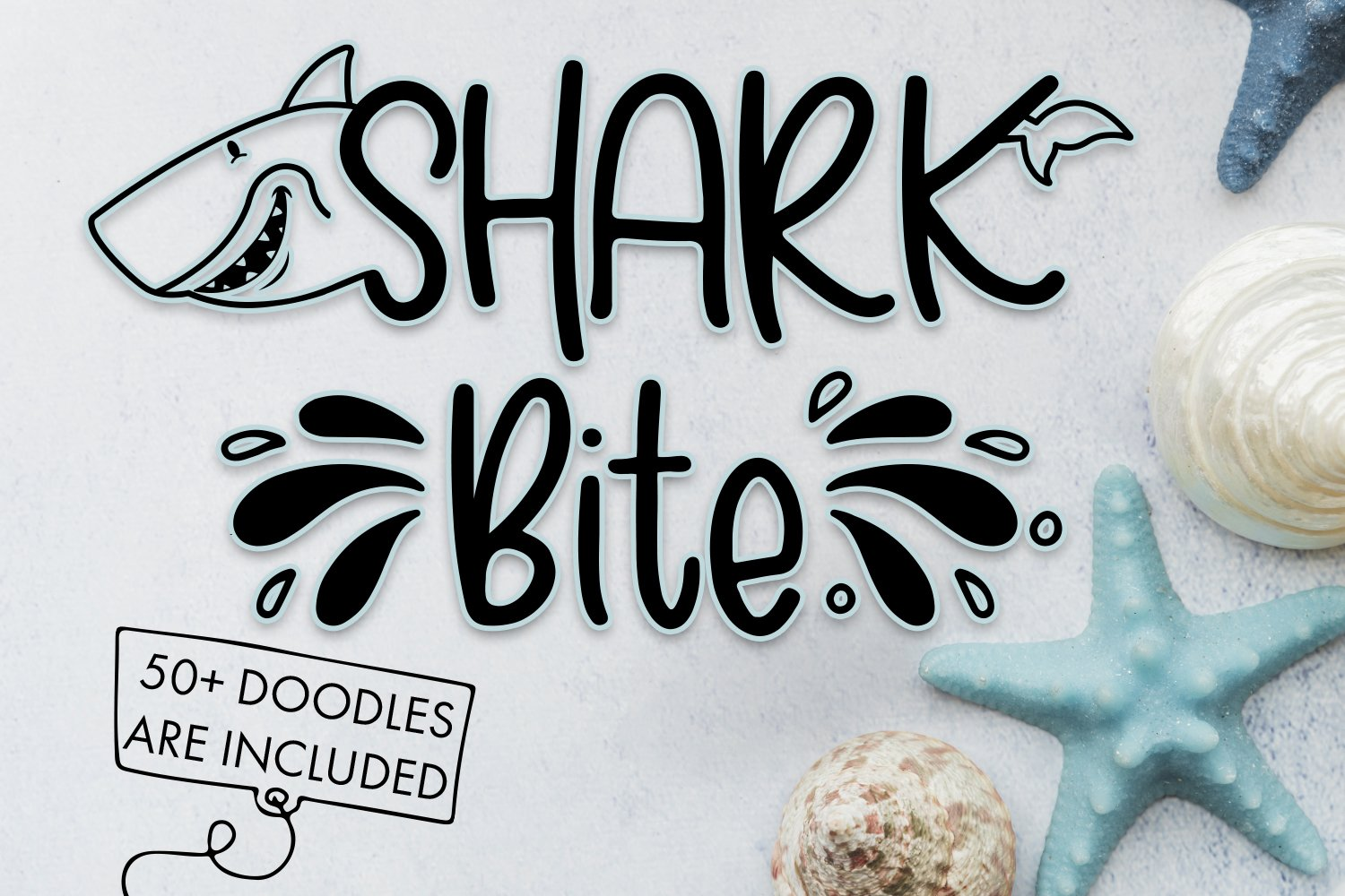 Shark Bite - A Shark font plus nautical doodles example image 1