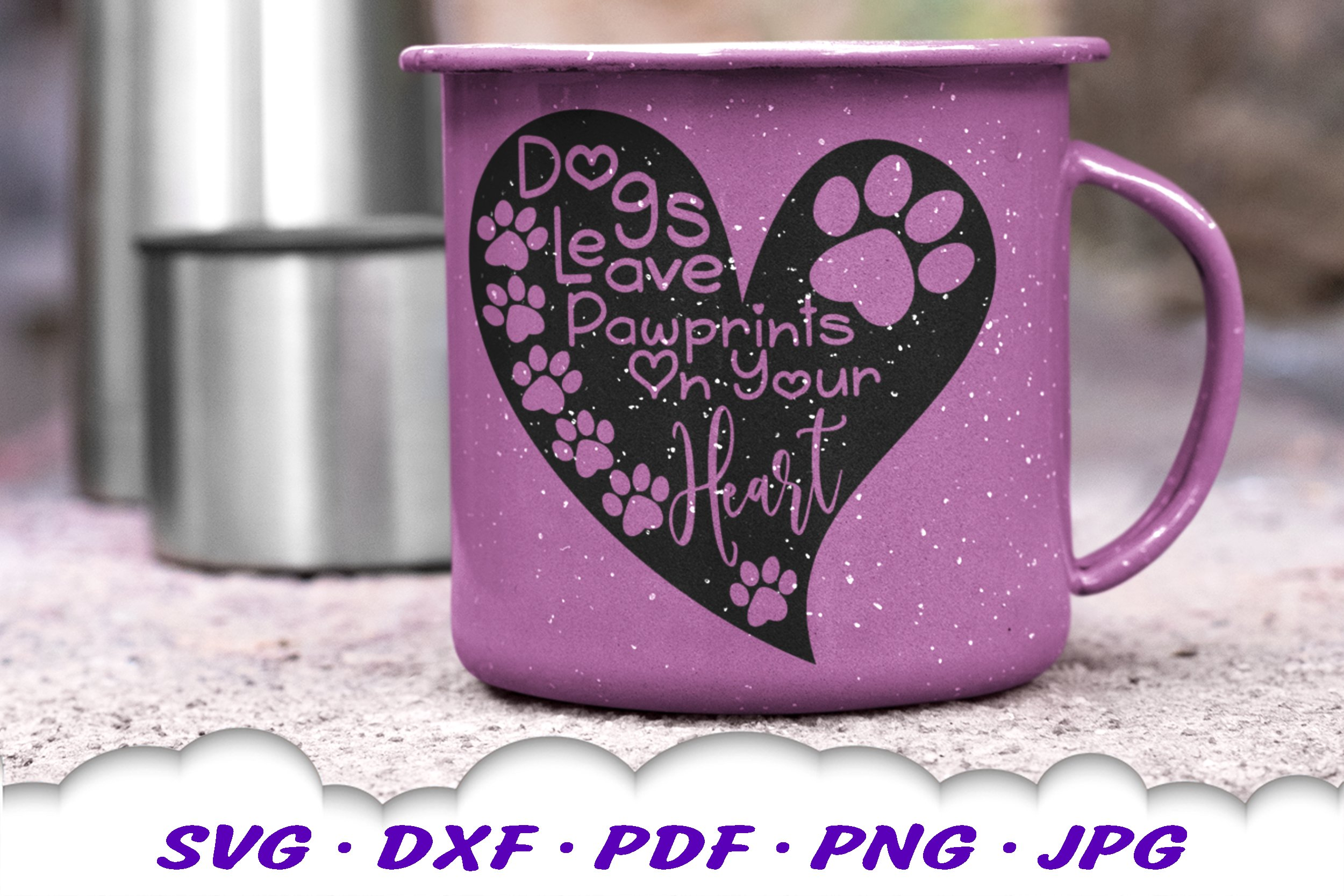 Dog Mom Paw Print Quote Heart SVG DXF Cut Files example image 4