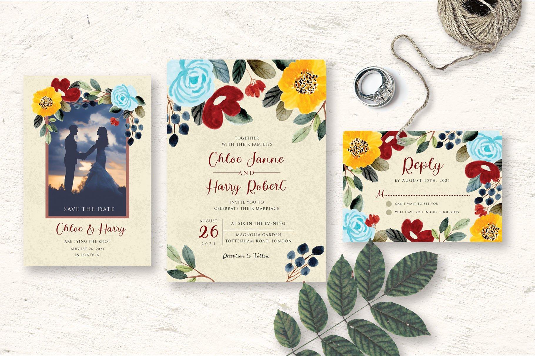 Beautiful Flower Wedding Invitation Set example image 3