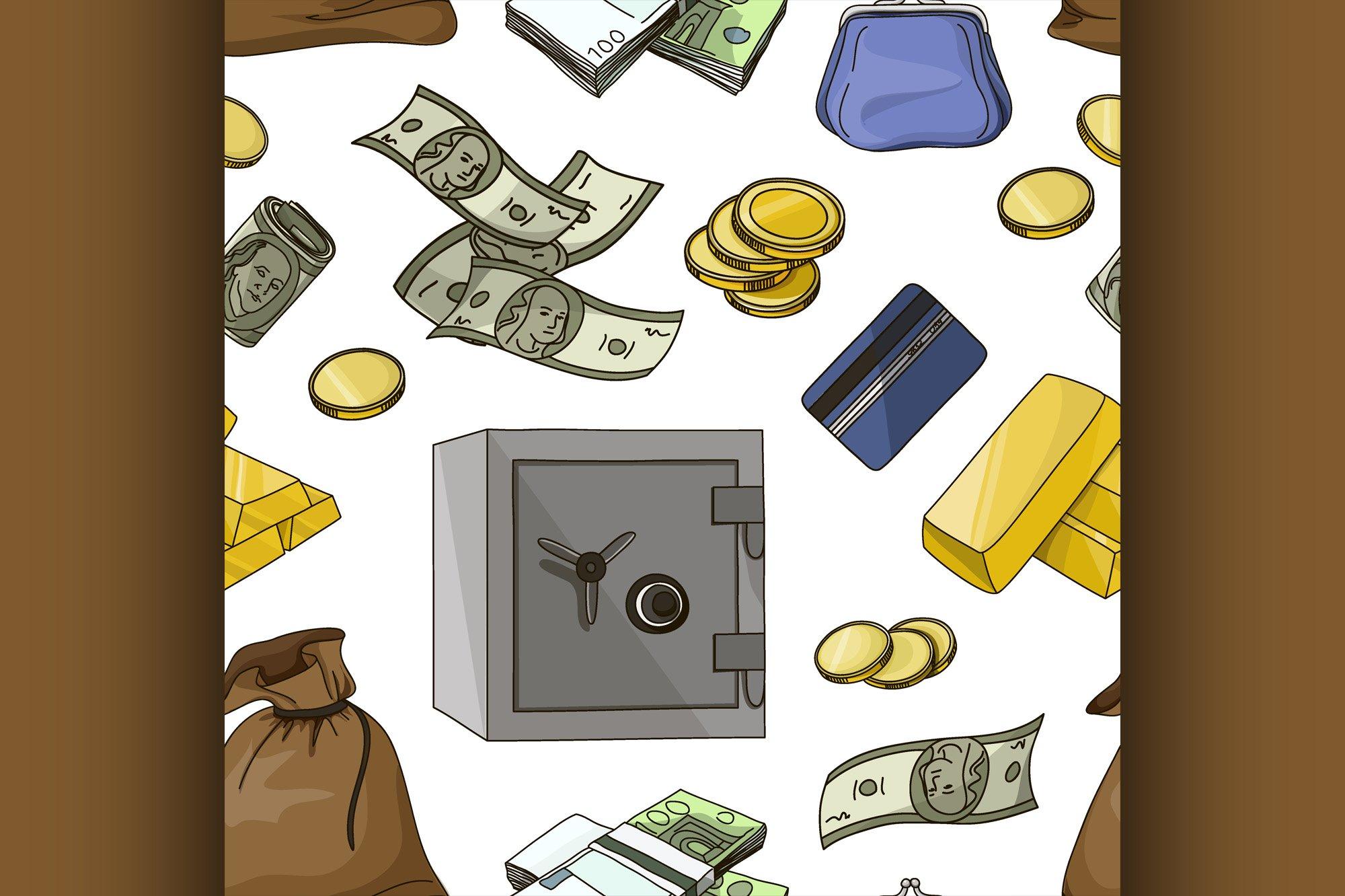 Hand drawn finance symbols pattern example image 1