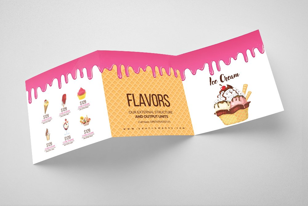 Ice Cream Square Trifold Brochure example image 4