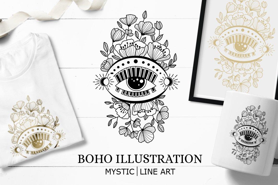Boho illustration | Mystical Line art example image 1