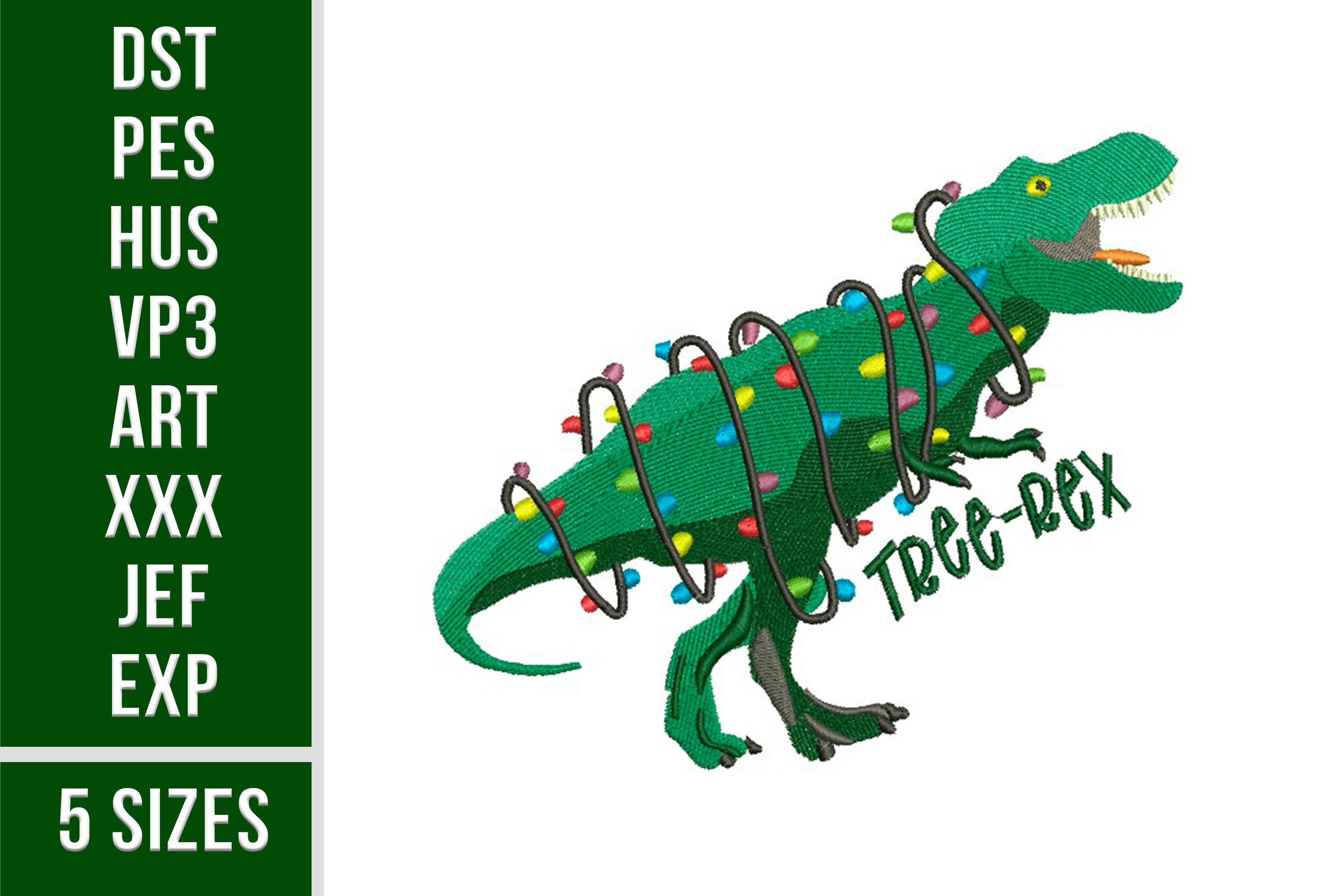 Christmas T-rex Embroidery 5 sizes, Tree-Rex with Lights example image 1