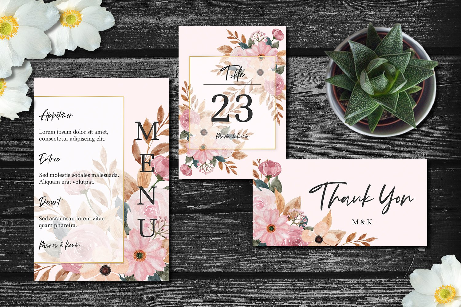 Peach and Pink Floral Wedding Invitation Set example image 3
