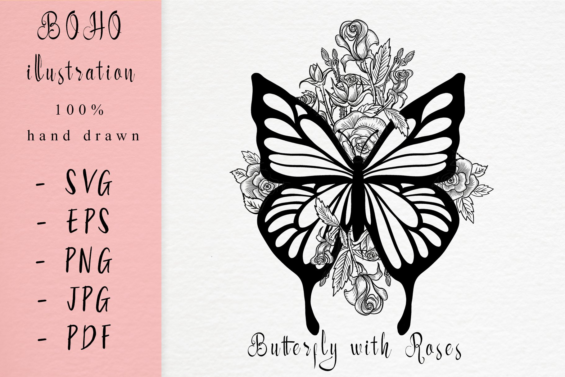 Boho illustration / Butterfly with roses example image 1