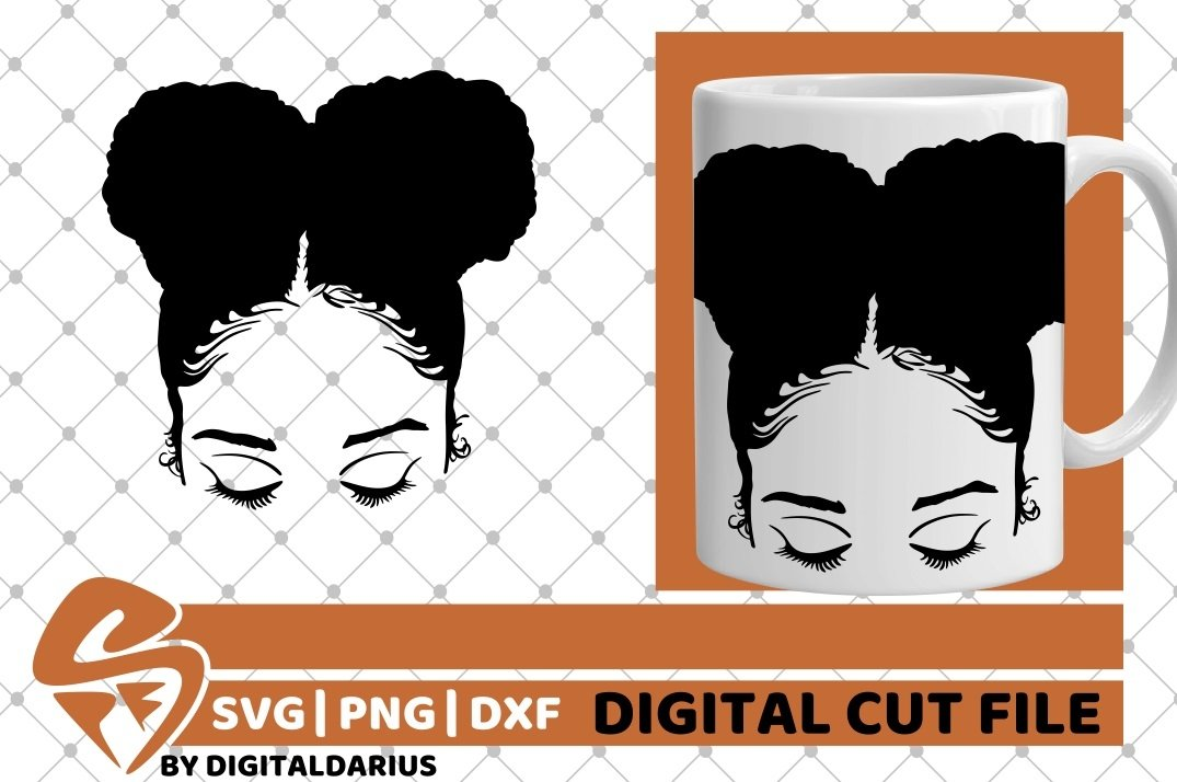 Black Girl with Afro Puffs svg, Afro Hair svg, Melanin svg example image 1