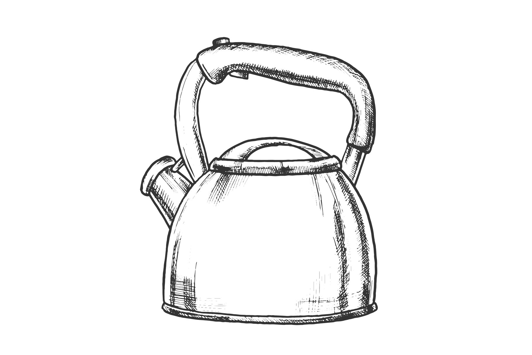 Teapot For Cook Hot Drink Kitchenware Ink Vector example image 1