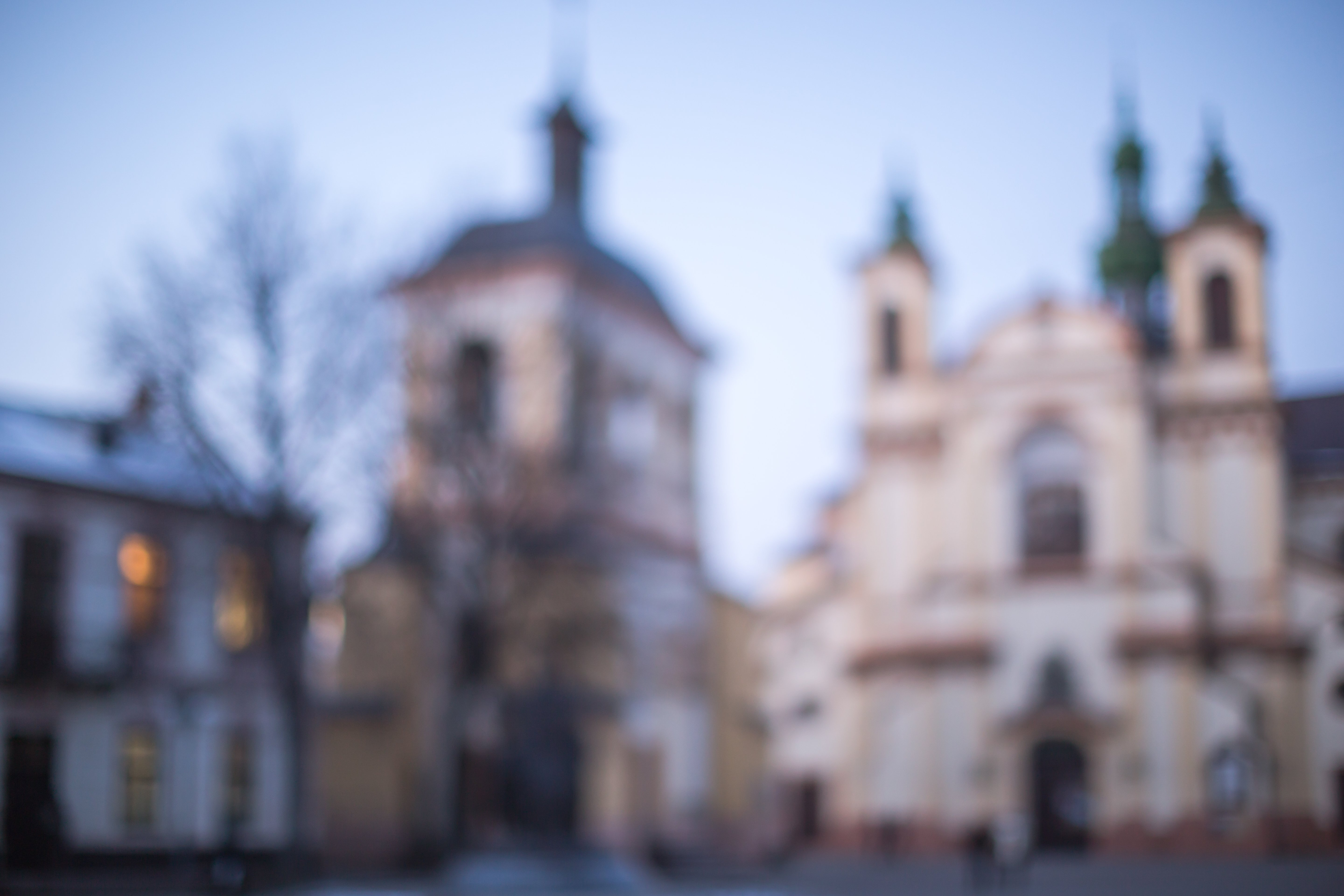 Blurred church at sunset example image 1