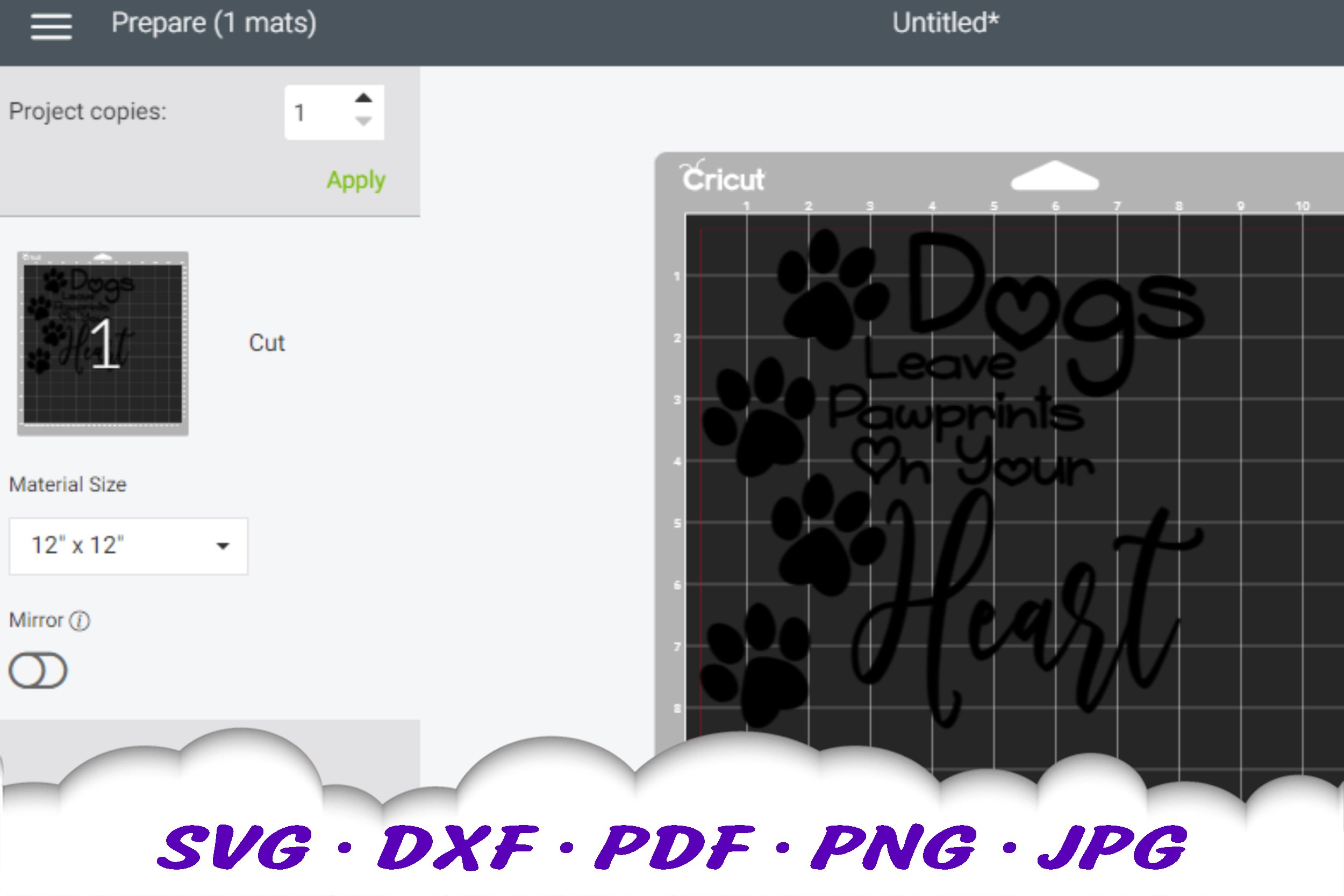 Dog Mom Paw Print Quote SVG DXF Cut Files example image 2