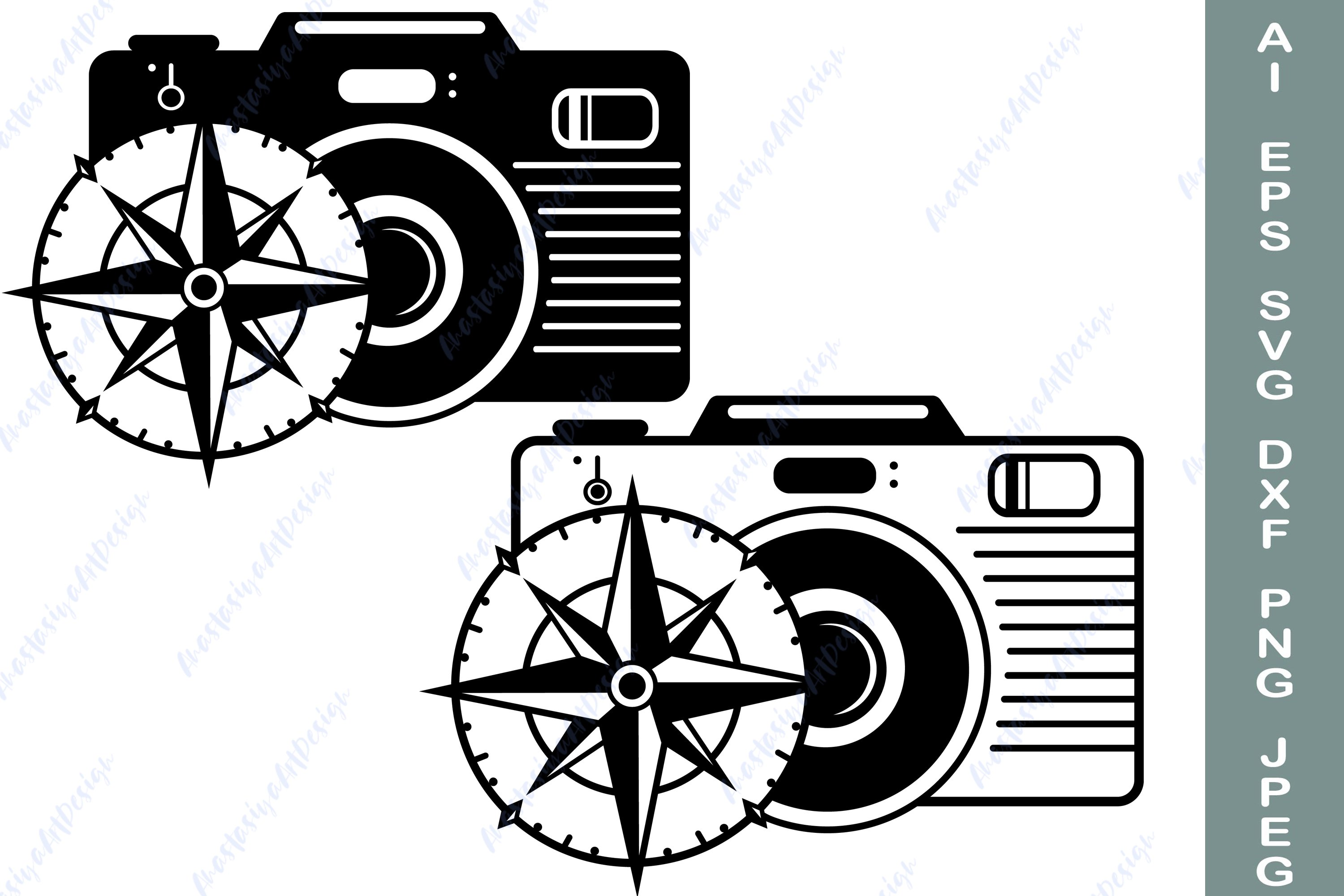 Compass and camera svg, Travel shirt svg, Adventure dxf example image 1
