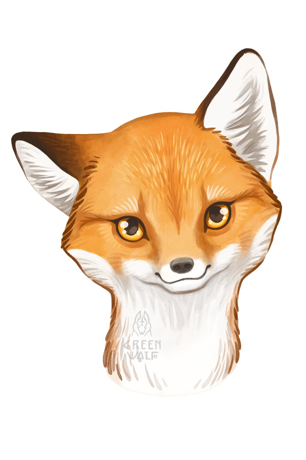 Baby fox drawing Watercolor art Forest animal clipart PNG example image 7