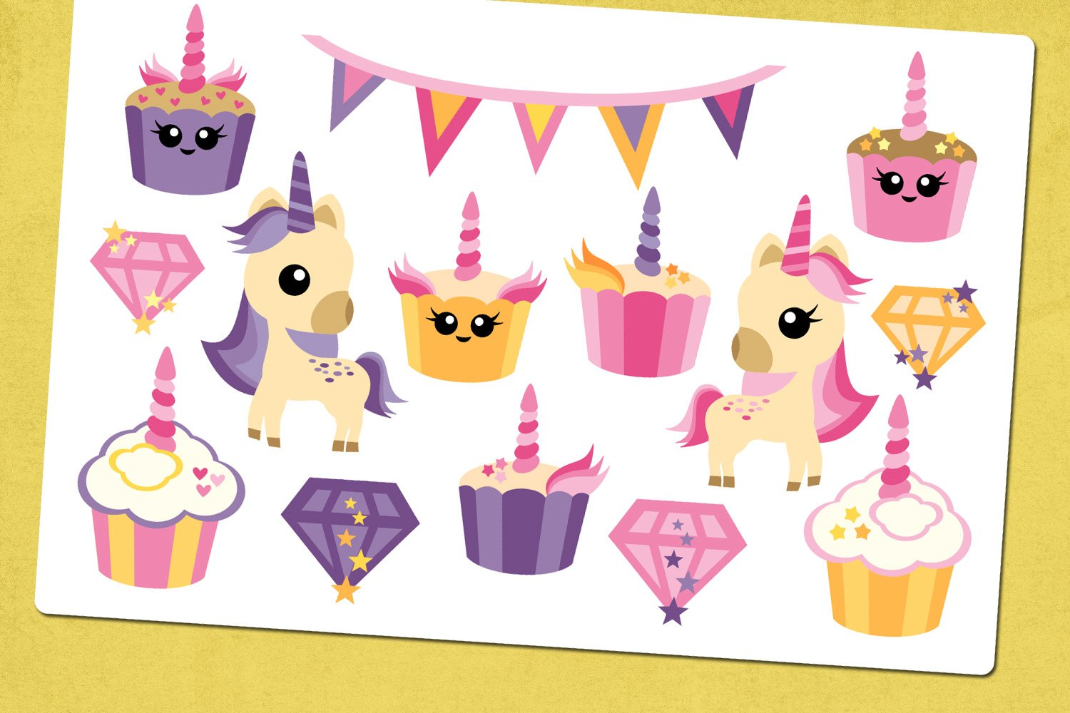 Unicorn cupcakes party illustrations example image 2