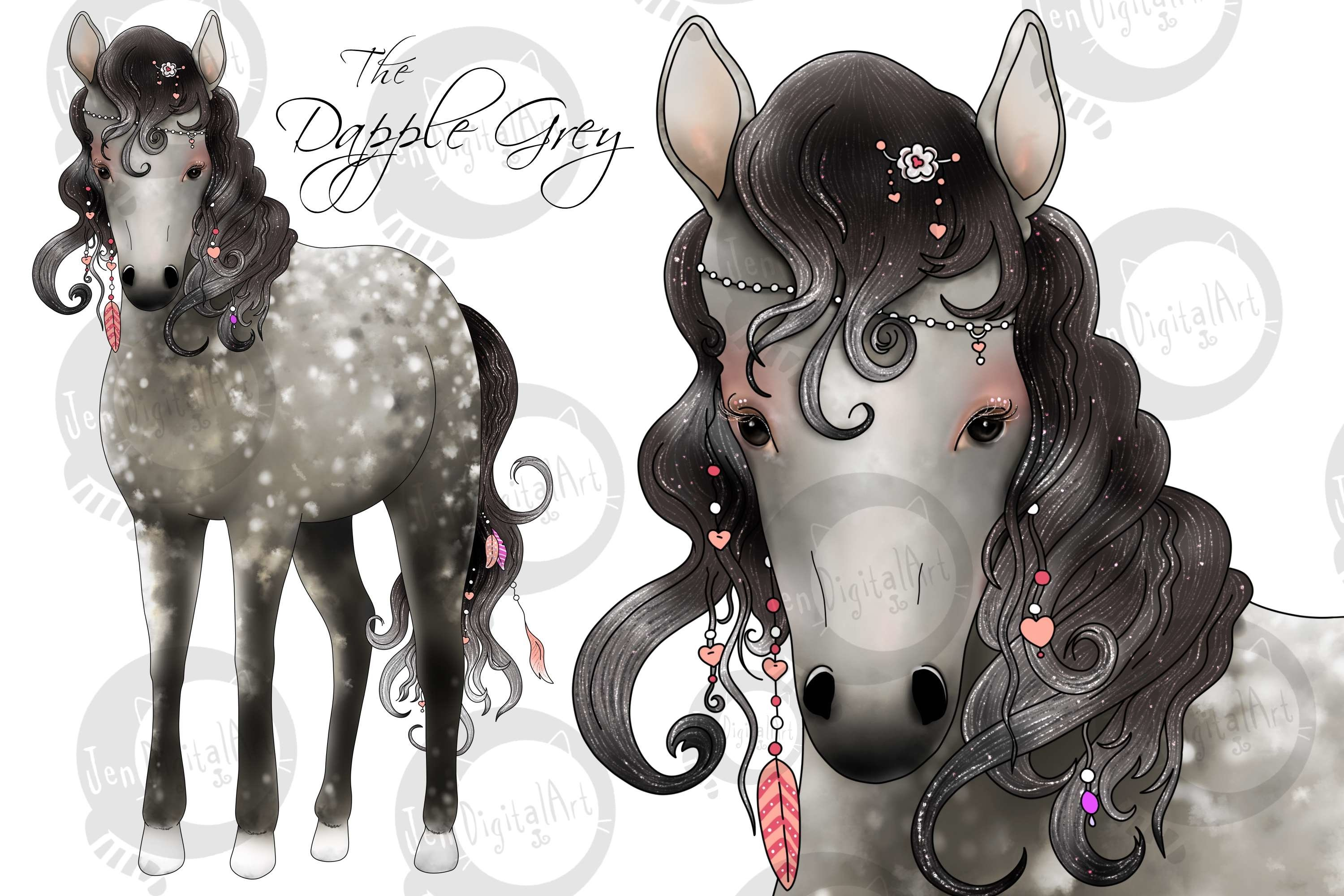 The Love Horse Magical Clip Art Set | PNG/JPEG Illustrations example image 5