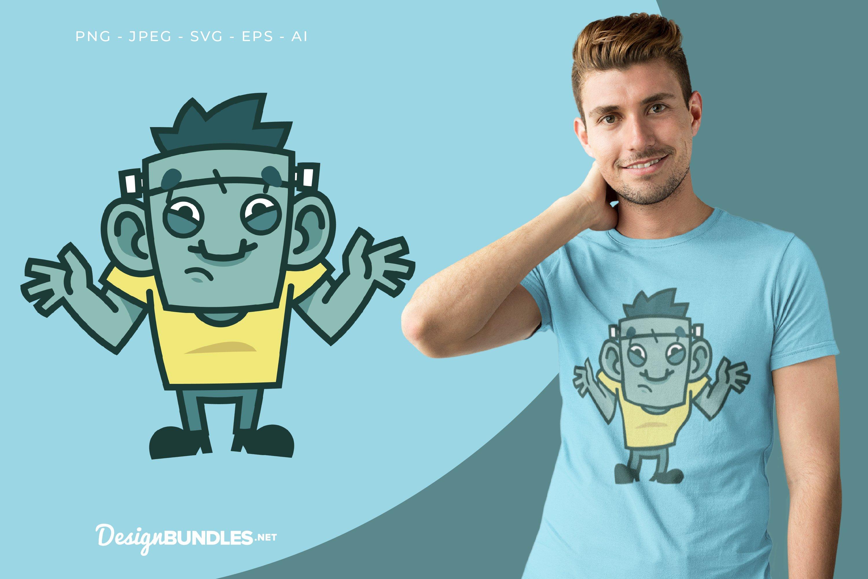Confused Frankenstein Vector Illustration For T-Shirt Design example image 1