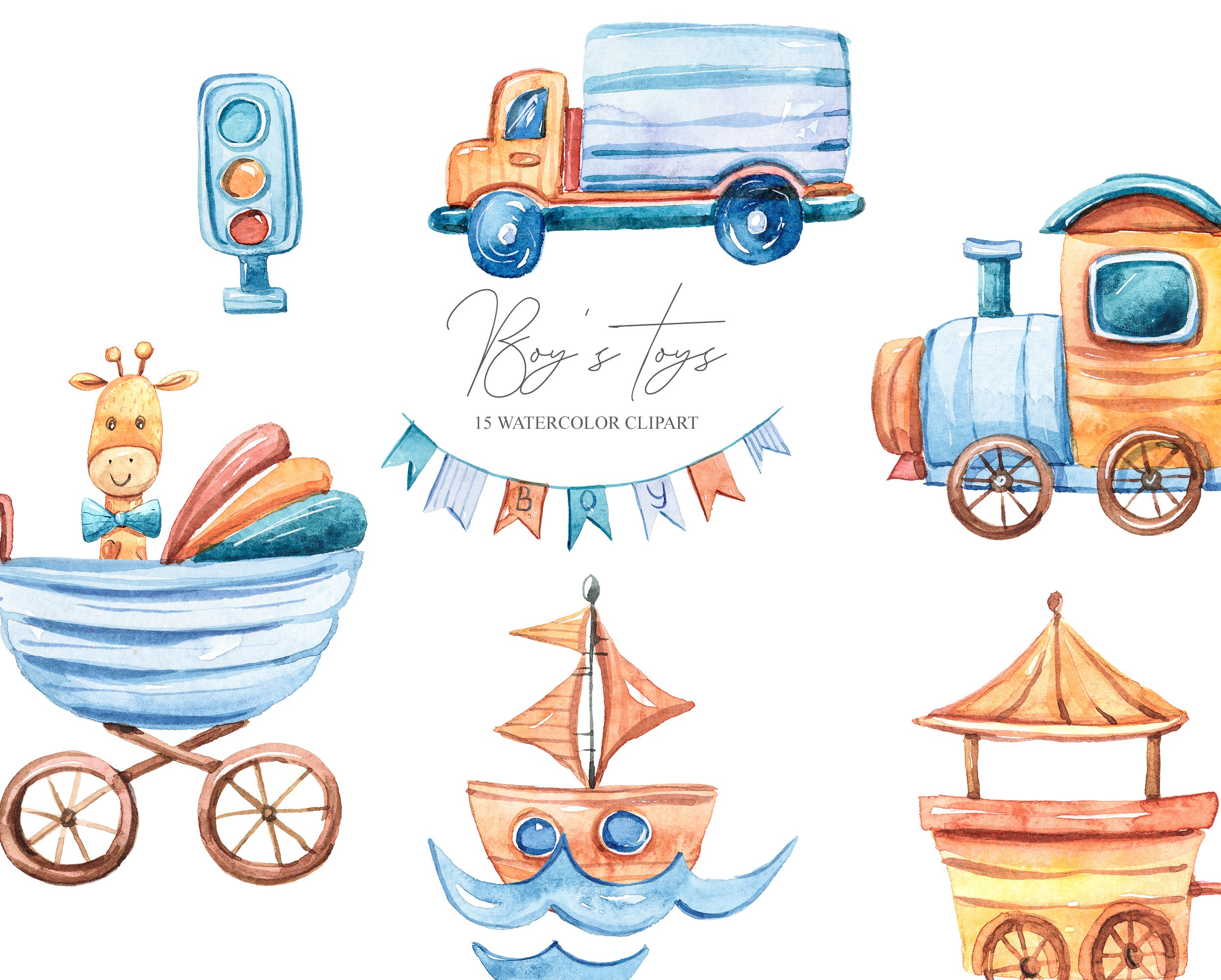 Watercolor cute boy's world. Toy transport clipart example image 3