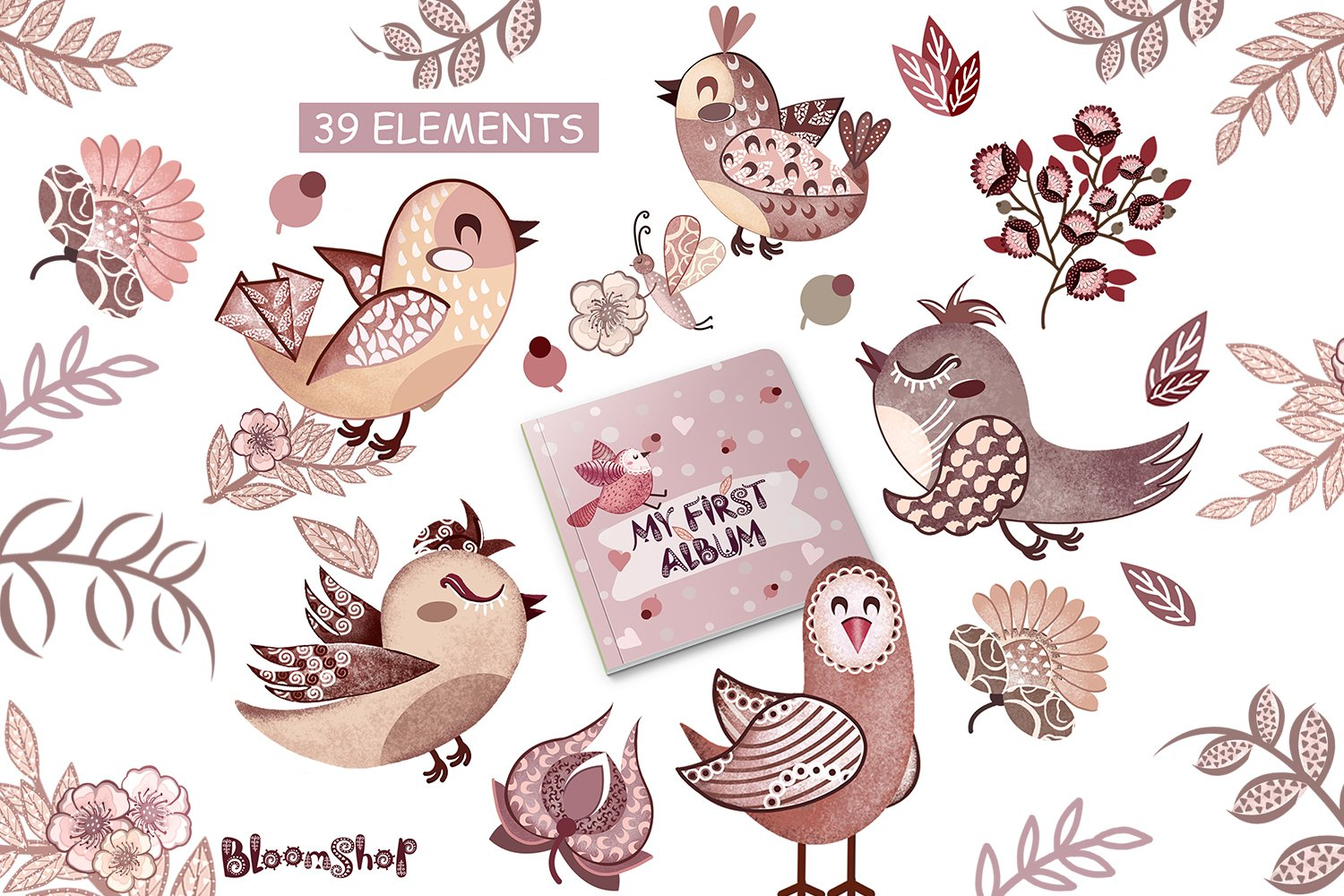Cute birds with flowers clipart, Pink birds, burgundy flower example image 2