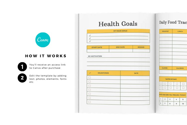 HEALTH PLANNER CUSTOMIZABLE CANVA TEMPLATE example image 3