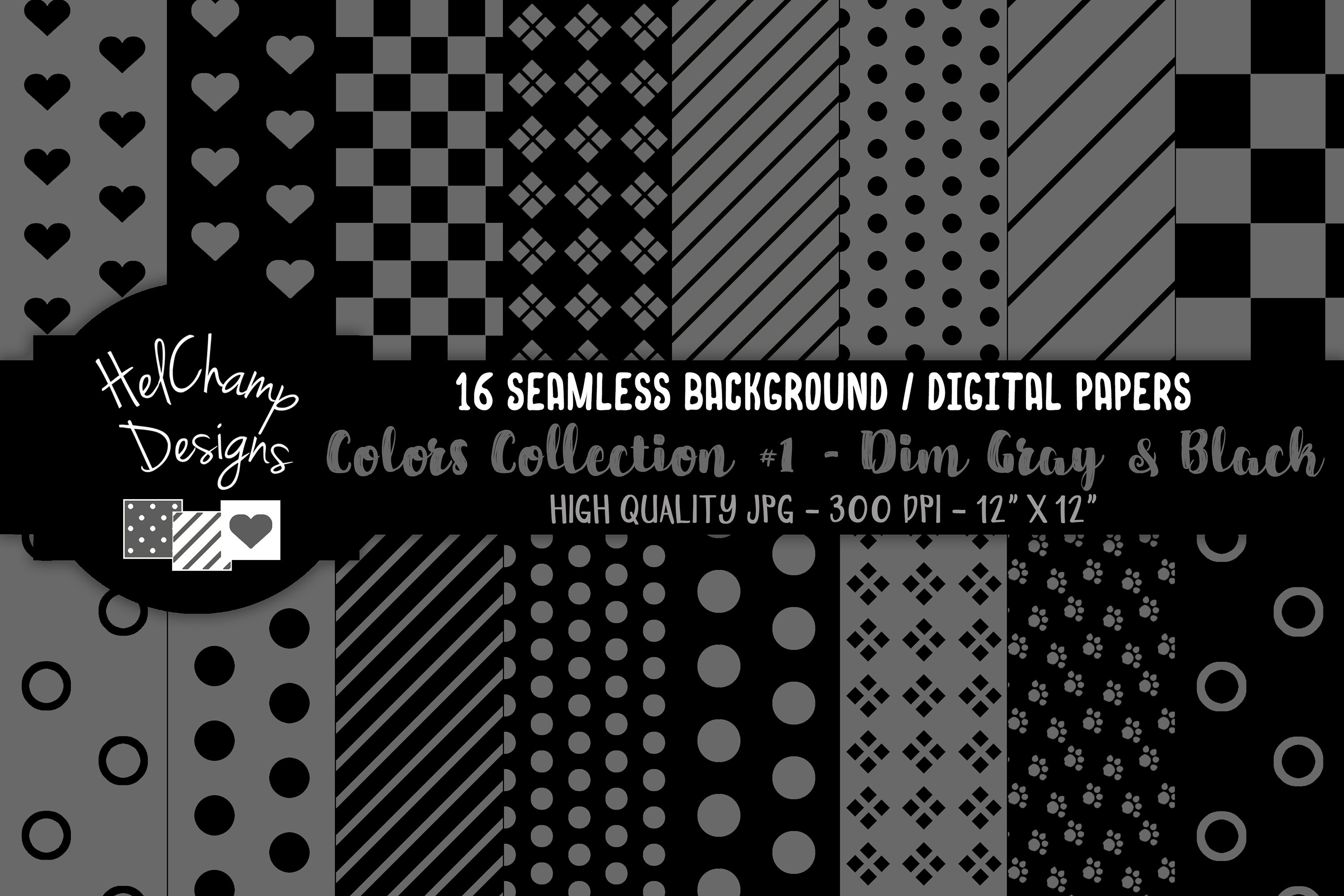 16 seamless Digital Papers - Dim Gray and Black - HC105 example image 1