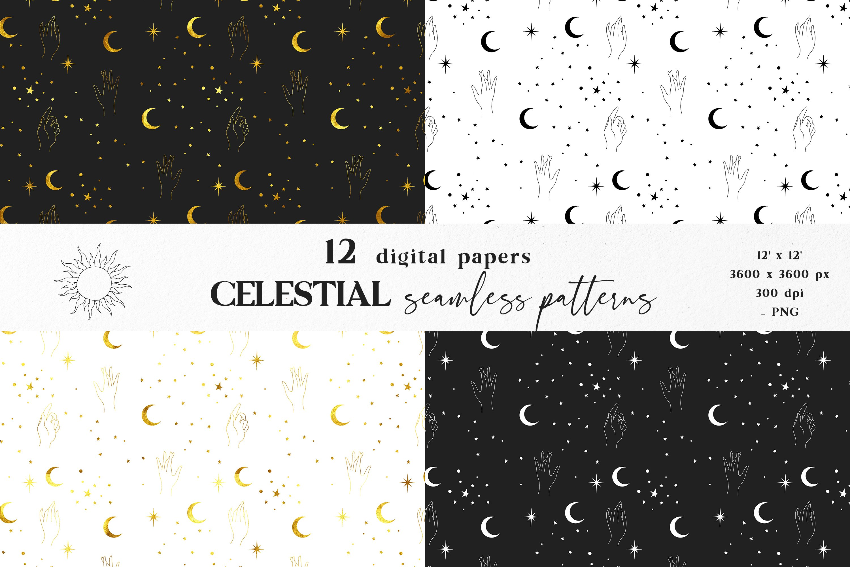 Moon digital paper, Celestial seamless pattern example image 3