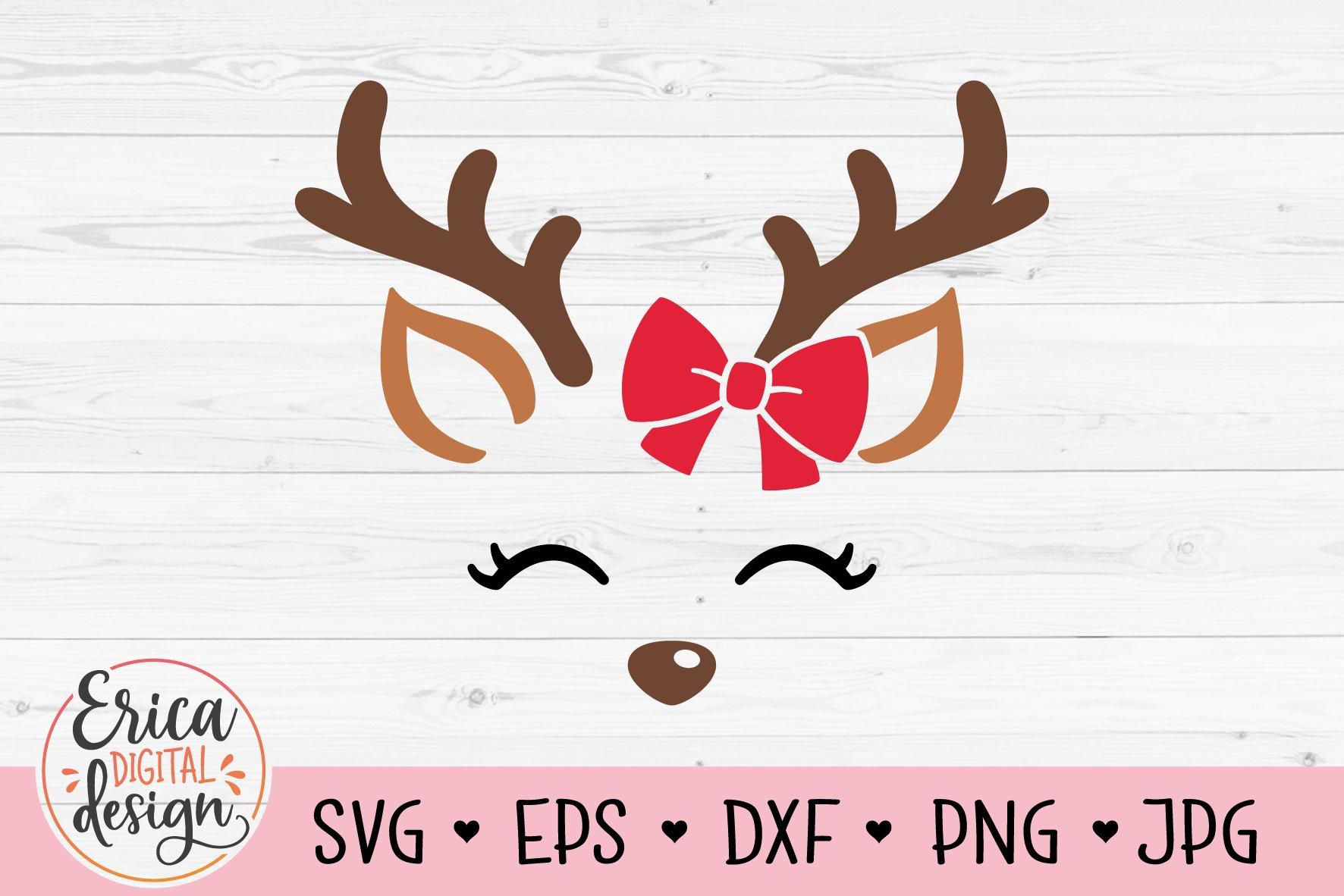 Reindeer Face Svg Cute Deer Christmas Reindeer Bow Girl 966672 Cut Files Design Bundles
