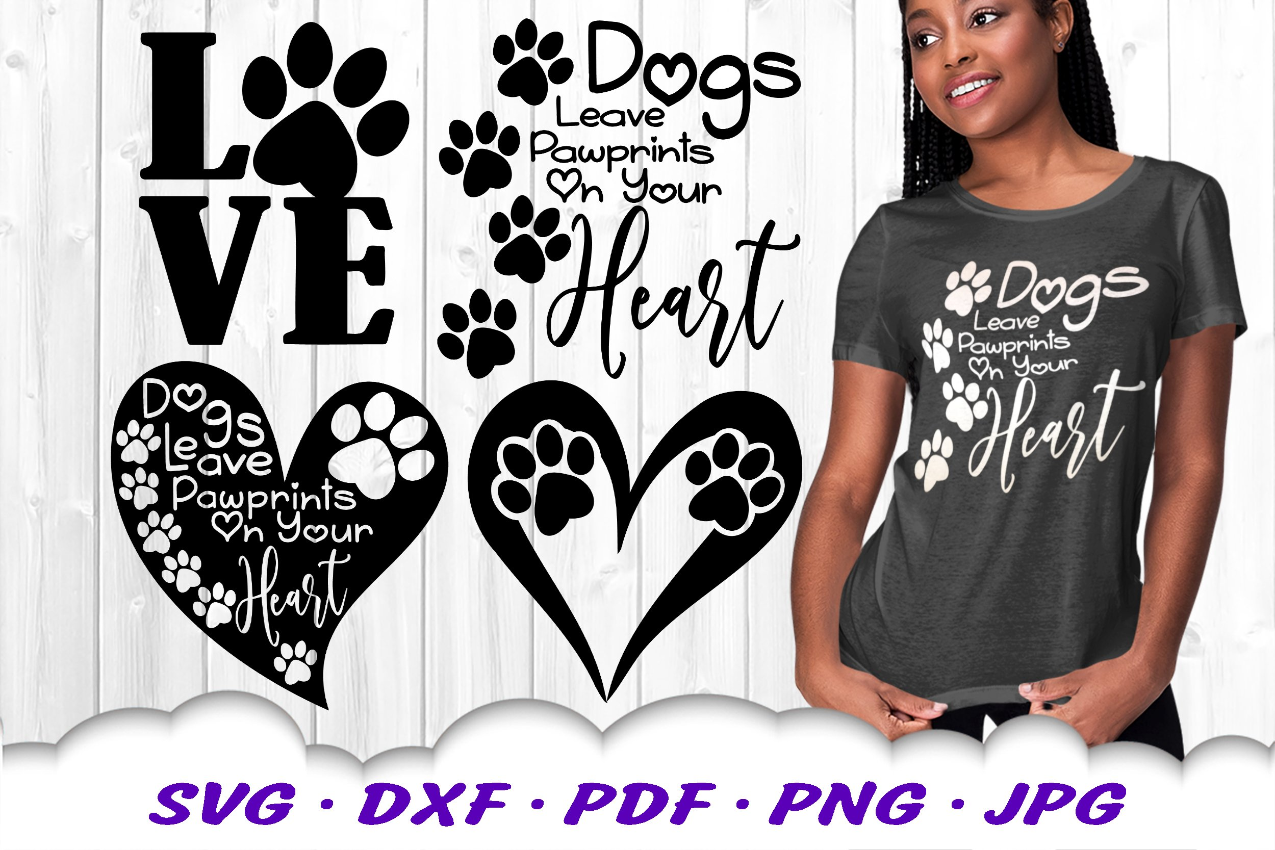 Dog Mom Paw Print Bundle SVG DXF Cut Files example image 1