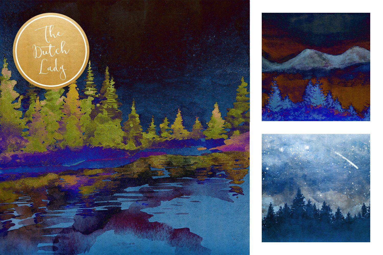 Digital Backgrounds & Papers - Winter Night Forest example image 4