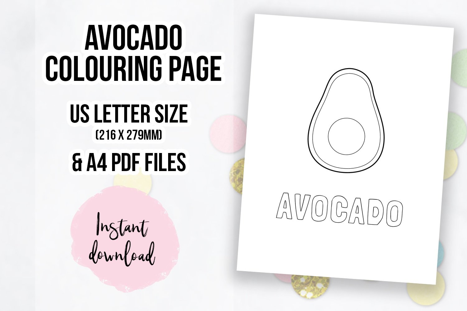 cute avocado coloring page colouring book page 602476 coloring pages design bundles cute avocado coloring page colouring book page