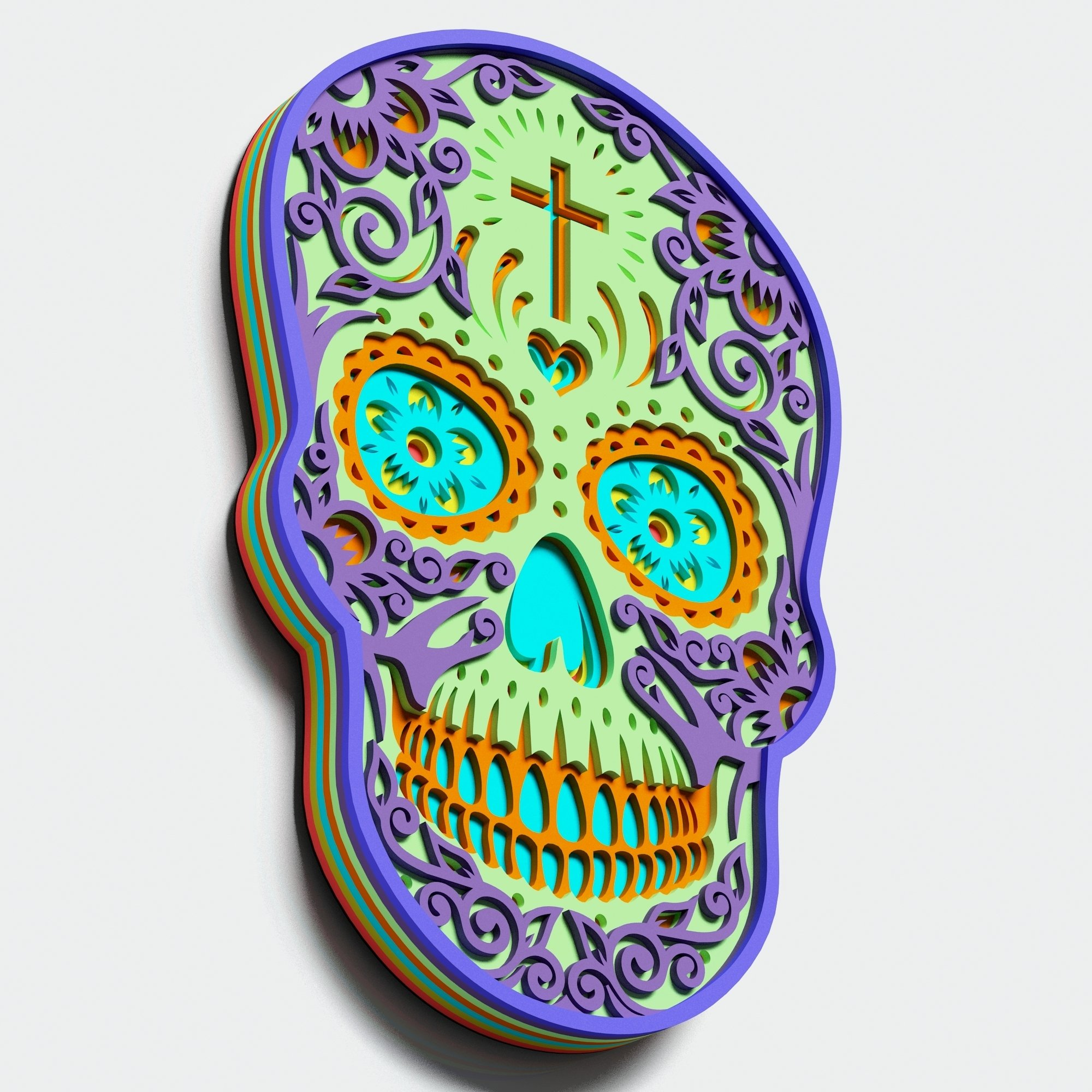 Multilayer Sugar Skull Mandala - S1, for cutting machines example image 5