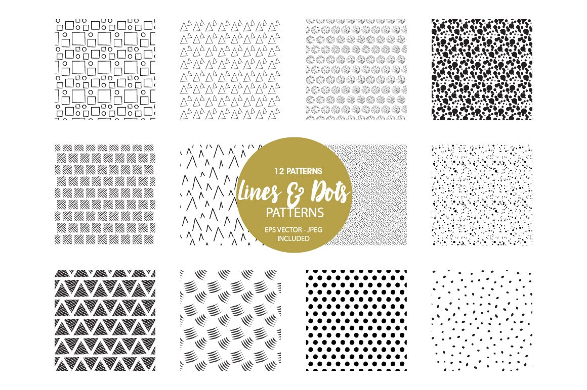 Geometric Lines Pattern collection, vector ai, eps and jpeg example image 2