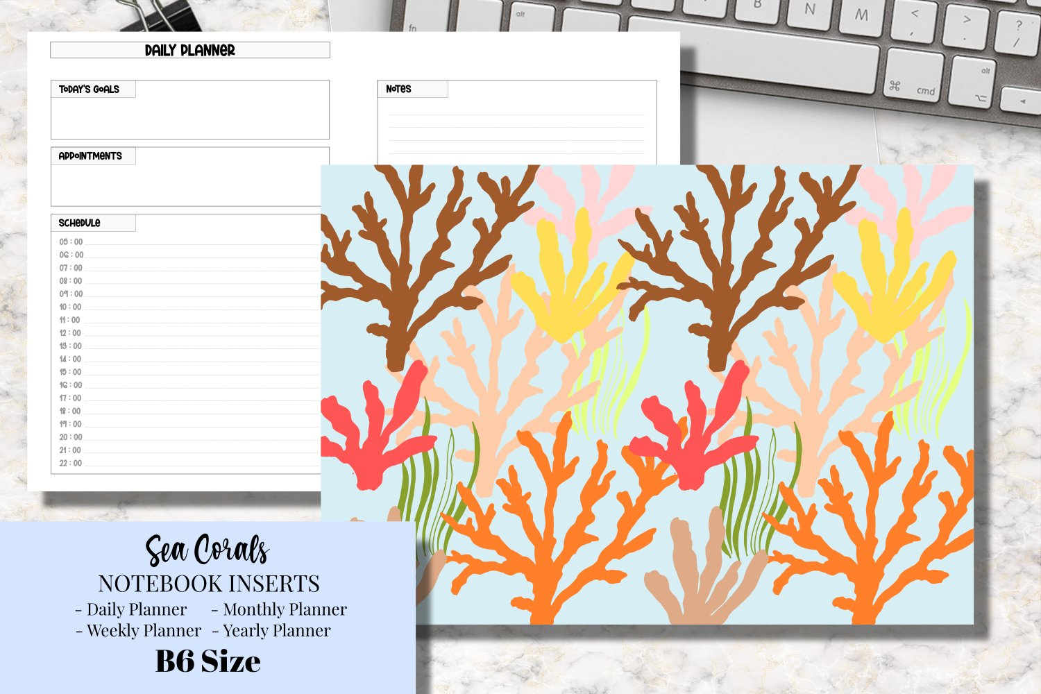 Sea Corals B6 Size Notebook Inserts Planner example image 1