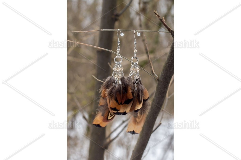 earrings of Dream catcher with feathers threads and beads example image 1
