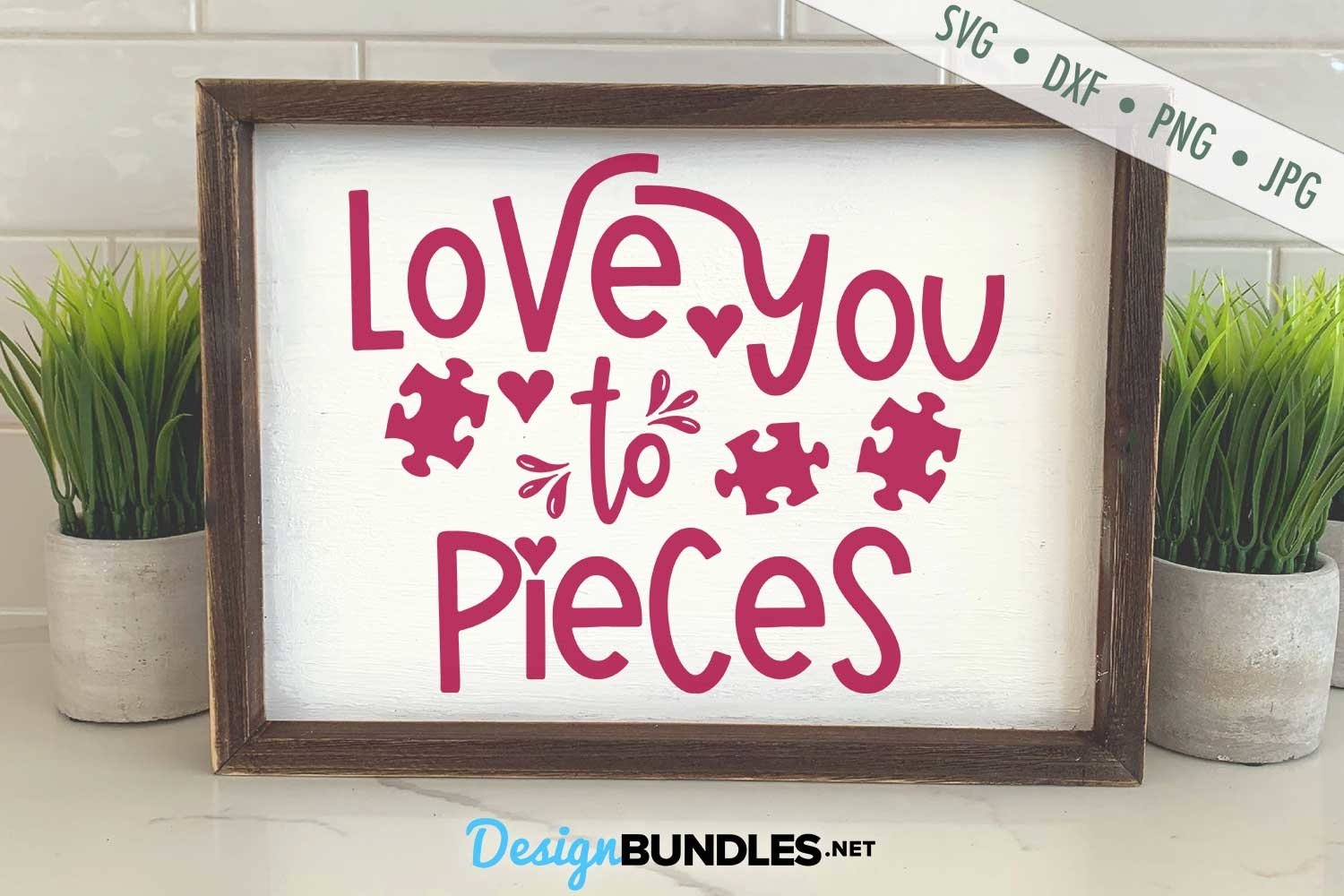Love You To Pieces SVG   Valentine's Day SVG   Autism SVG example image 1