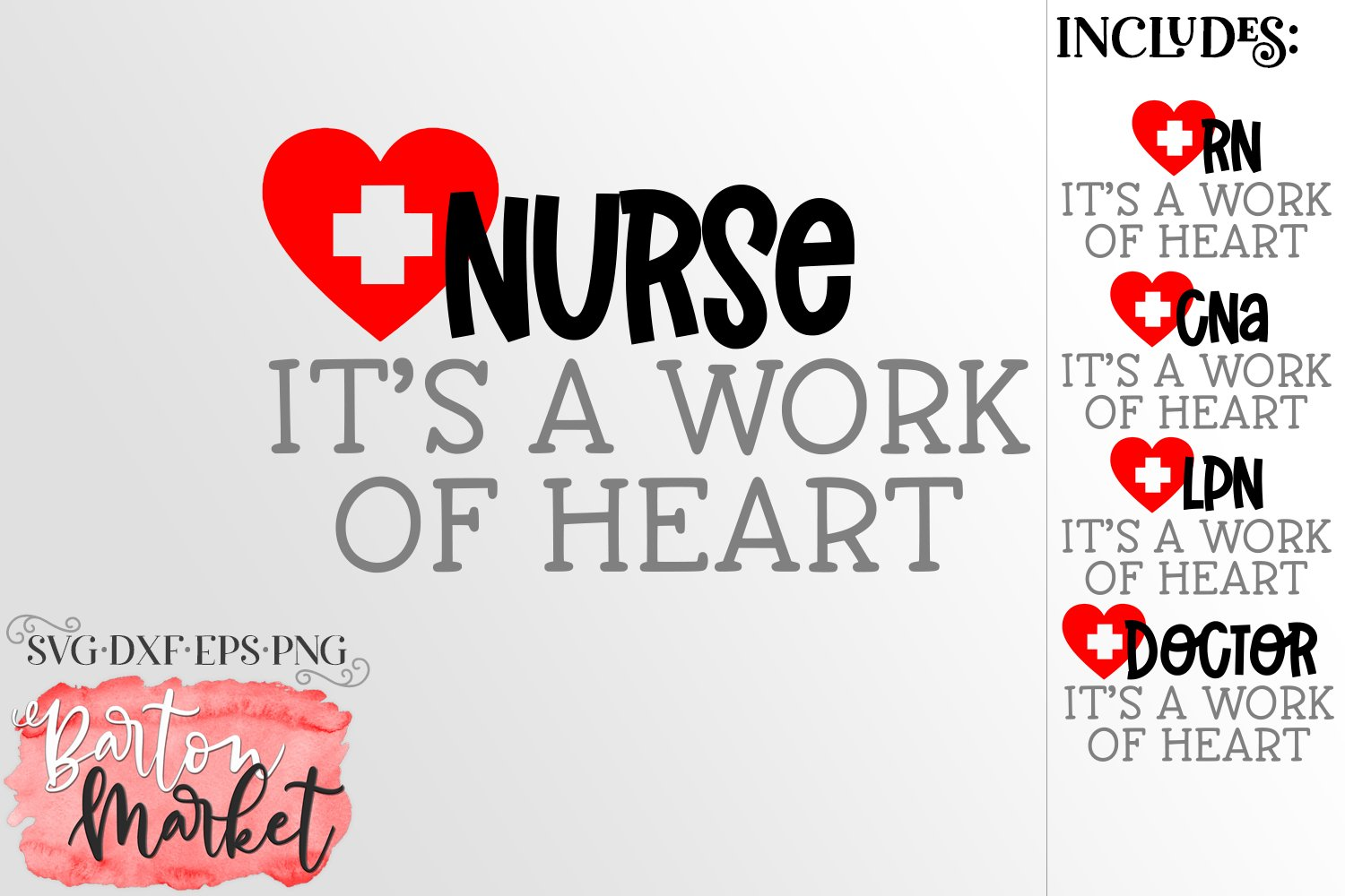Nurse It's A Work Of Heart SVG DXF EPS PNG example image 1