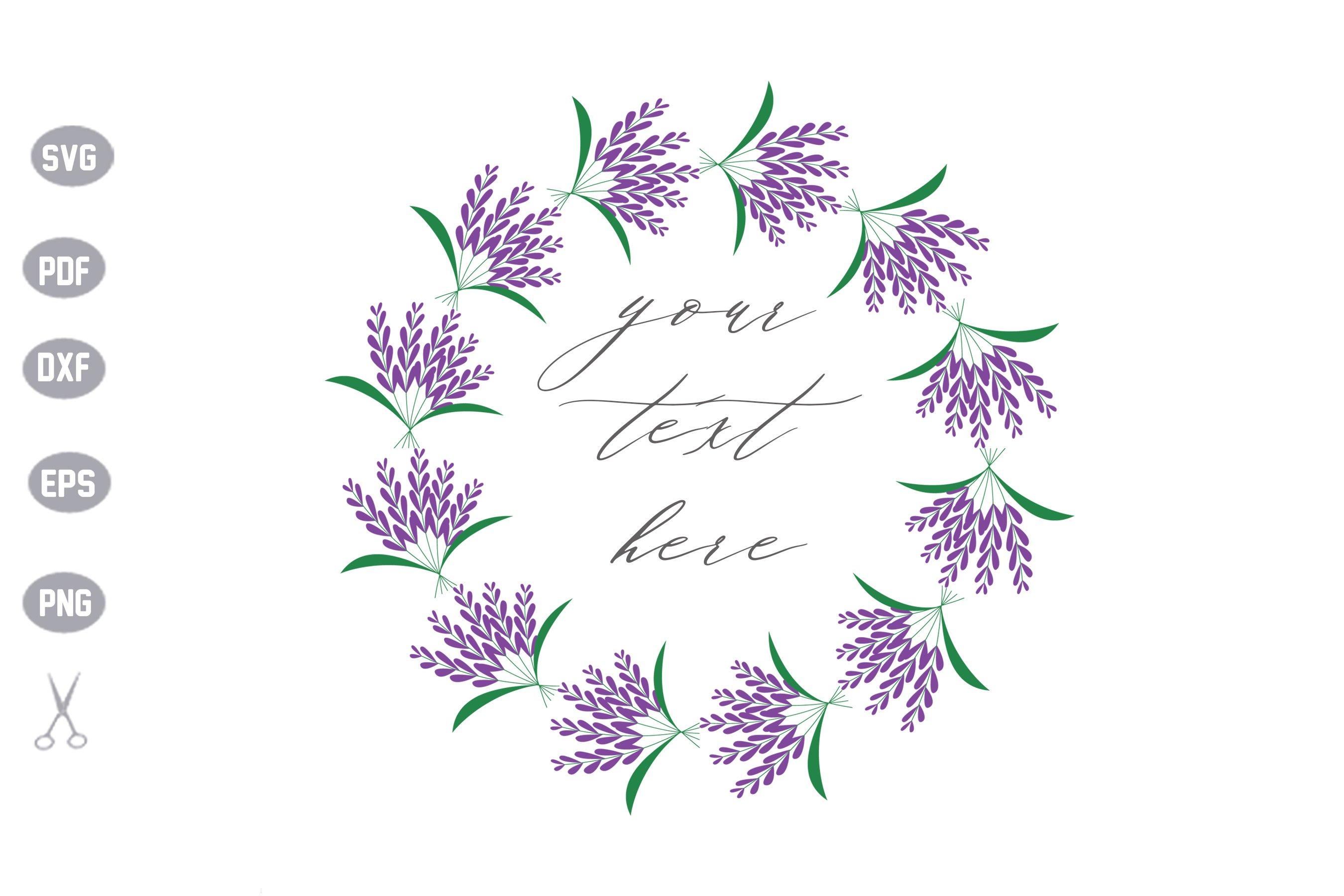 Lavender Flower Frame Monogram SVG example image 1