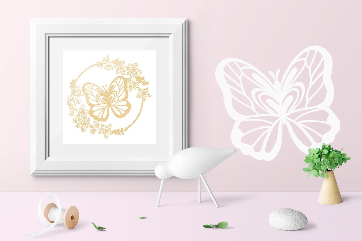 Wreath and butterfly / Paper cut silhouette example image 3