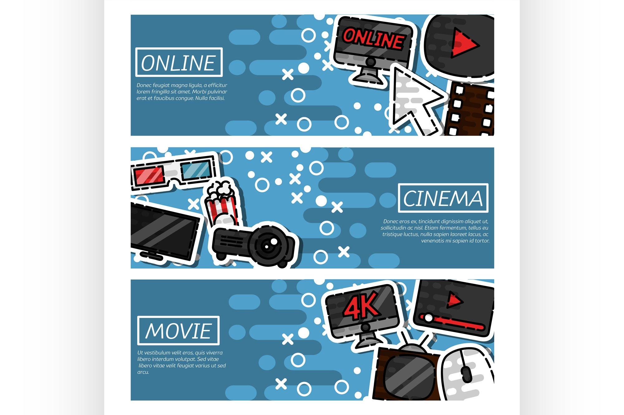 Set of Horizontal Banners online cinema example image 1