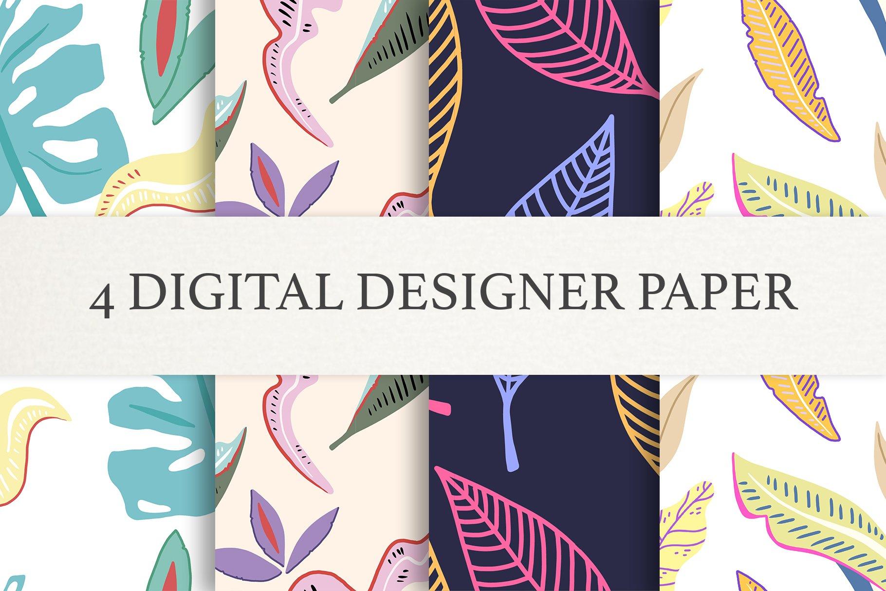 Floral leaf Digital Papers, Scrapbook Paper Set, Seamless example image 1