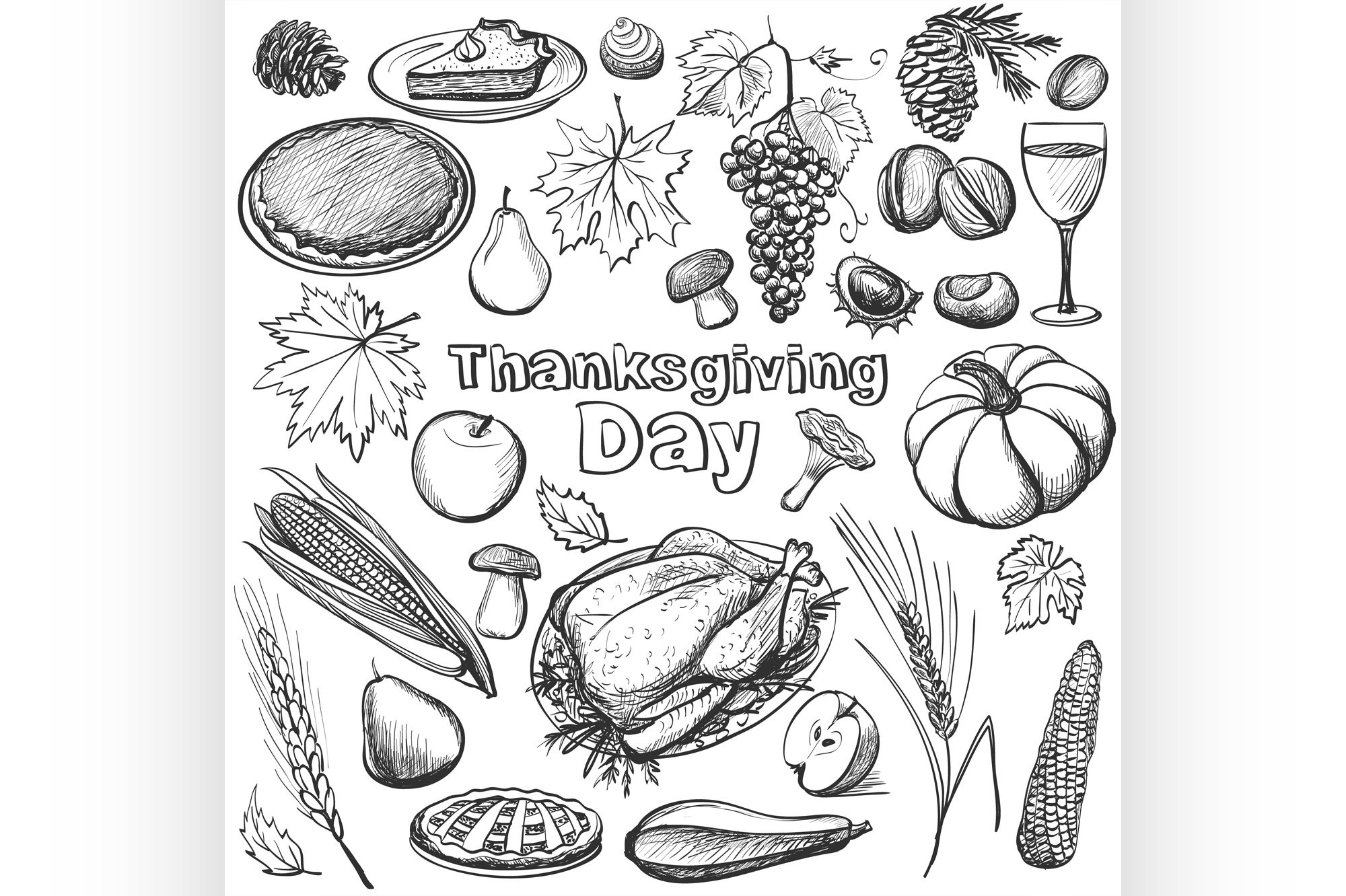 Hand drawn vector illustration - Thanksgiving day. example image 1