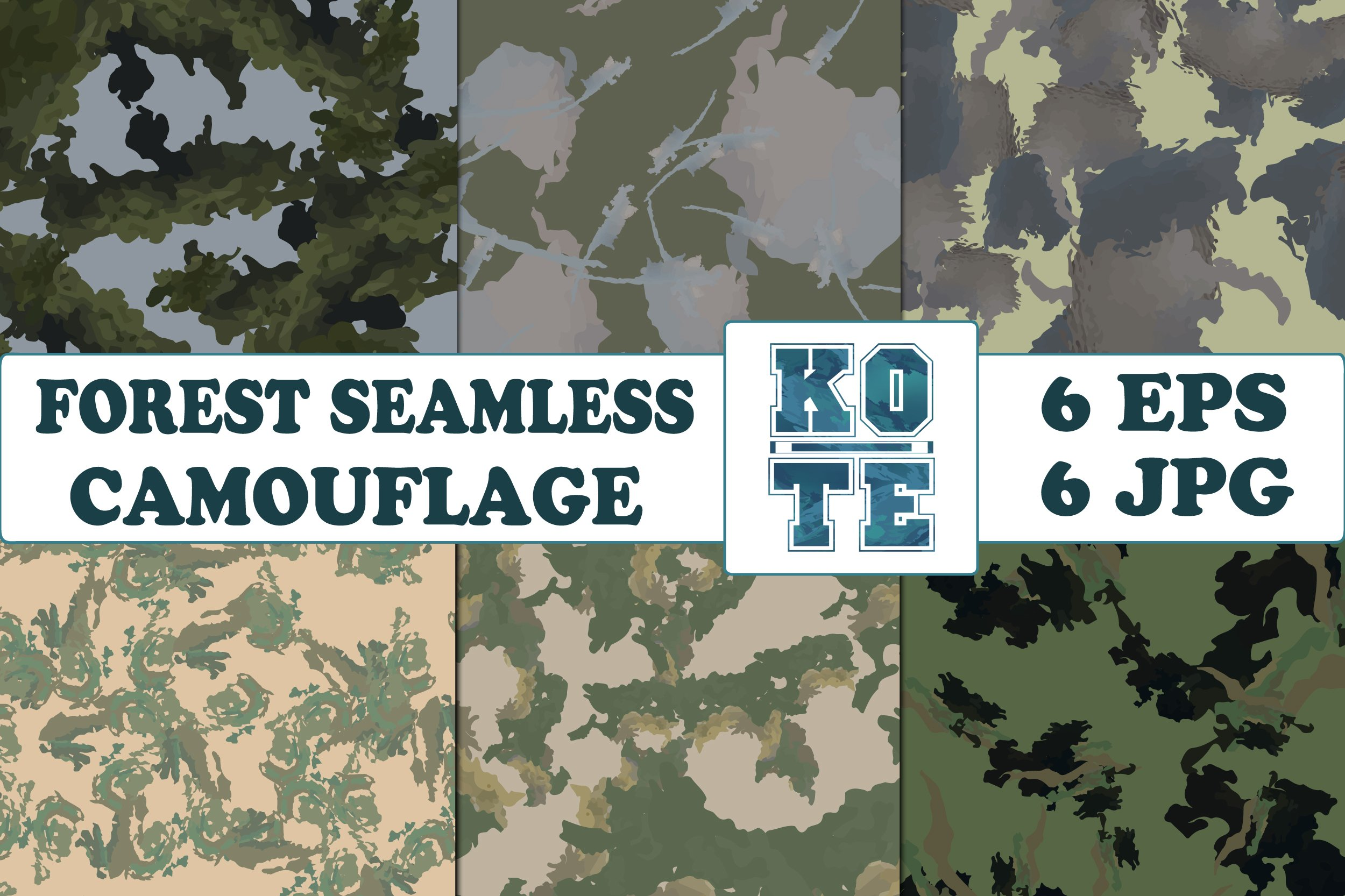 6 Seamless Military Forest Camouflage example image 1
