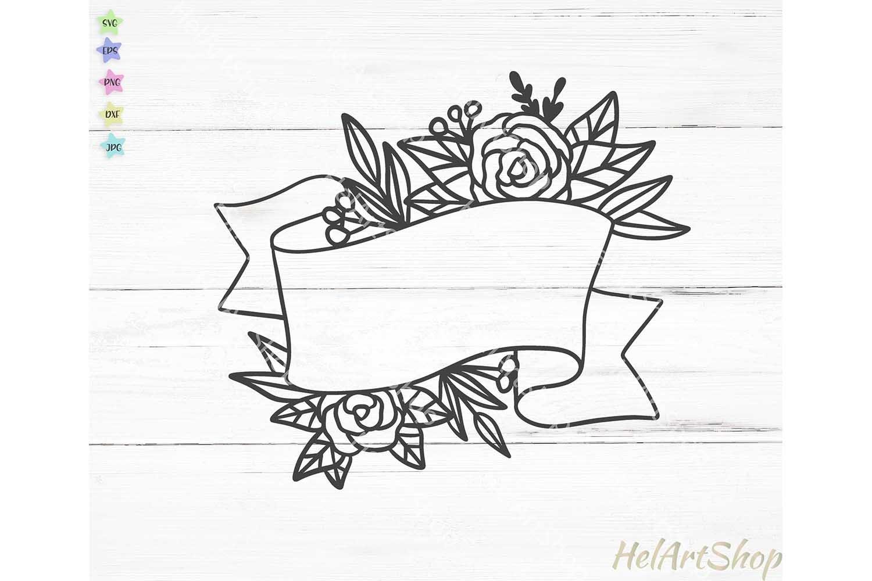 Floral ribbon svg, Wedding flowers svg, wedding monogram svg example image 1