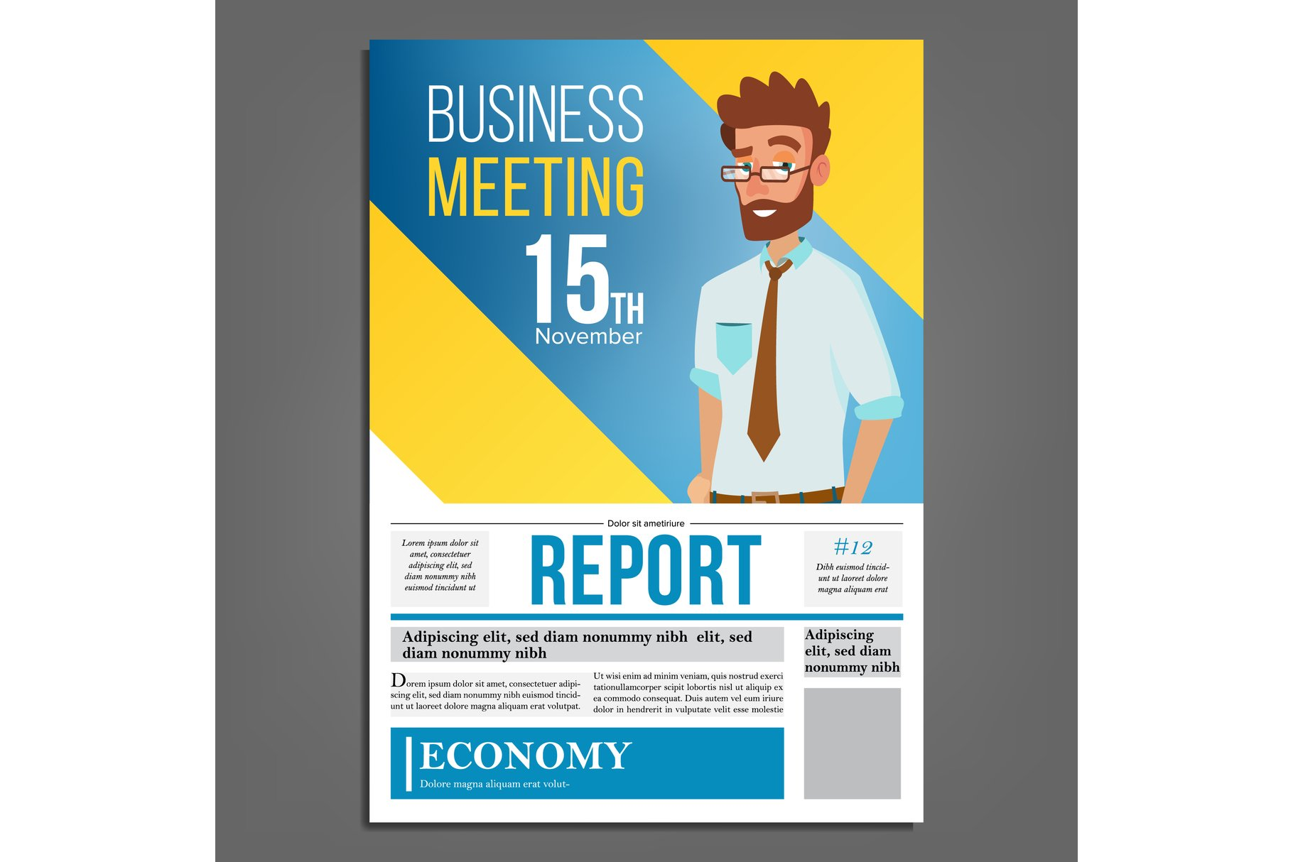 Business Meeting Poster Vector. Businessman. Layout example image 1