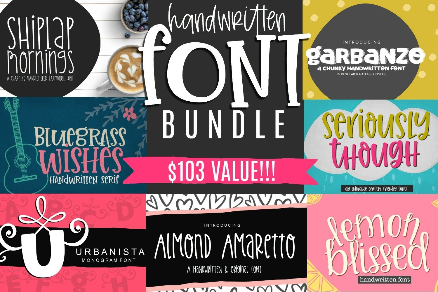 Crafter Handwritten Font Bundle- 7 Smooth Cuttable Fonts example image 1