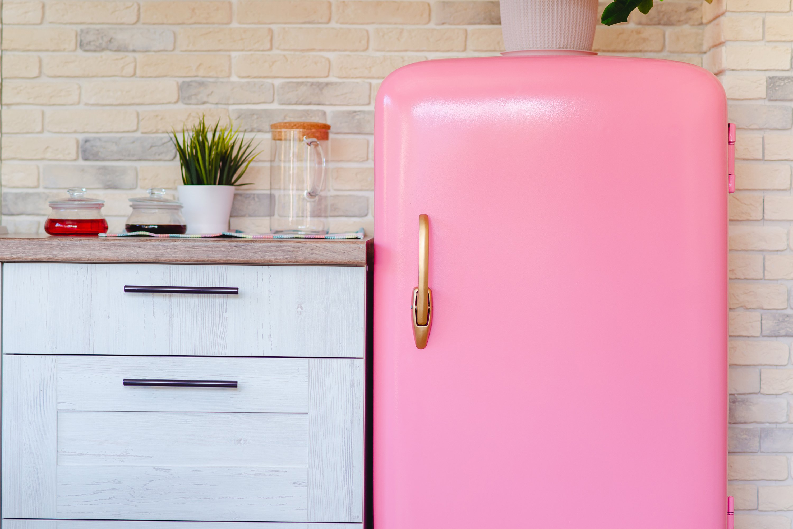 Pink refrigerator in retro style example image 1