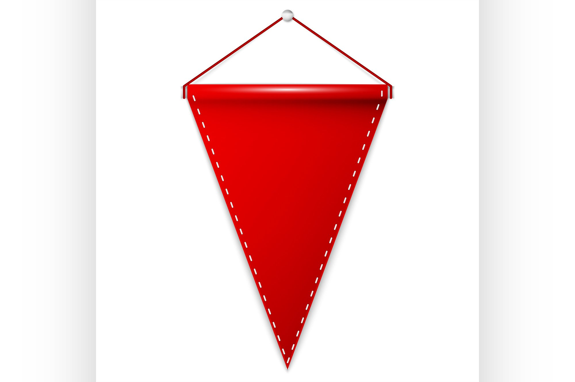 Red pennant hanging, mockup example image 1