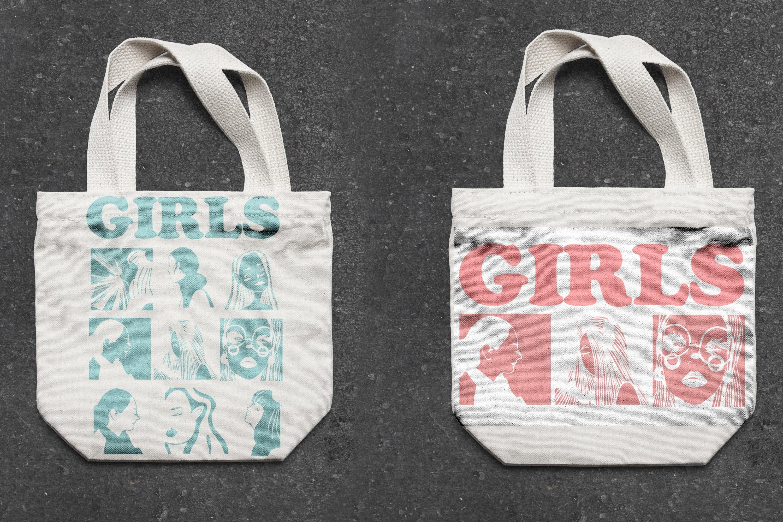 Girls portraits! 9 illustrations - eps, svg, png, jpg, cdr example image 23
