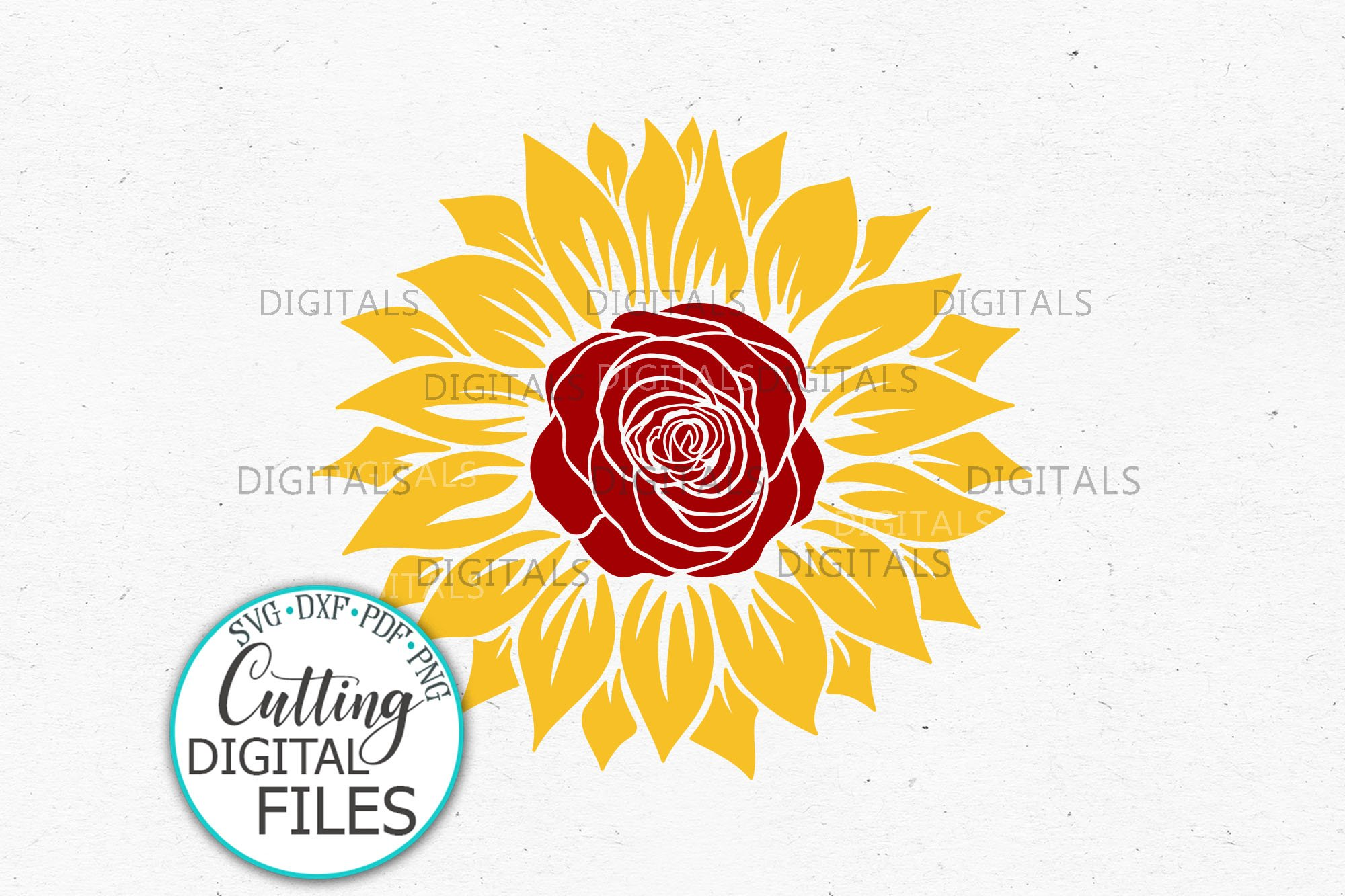 Download Sunflower Rose Svg dxf template for Cricut sublimation ...