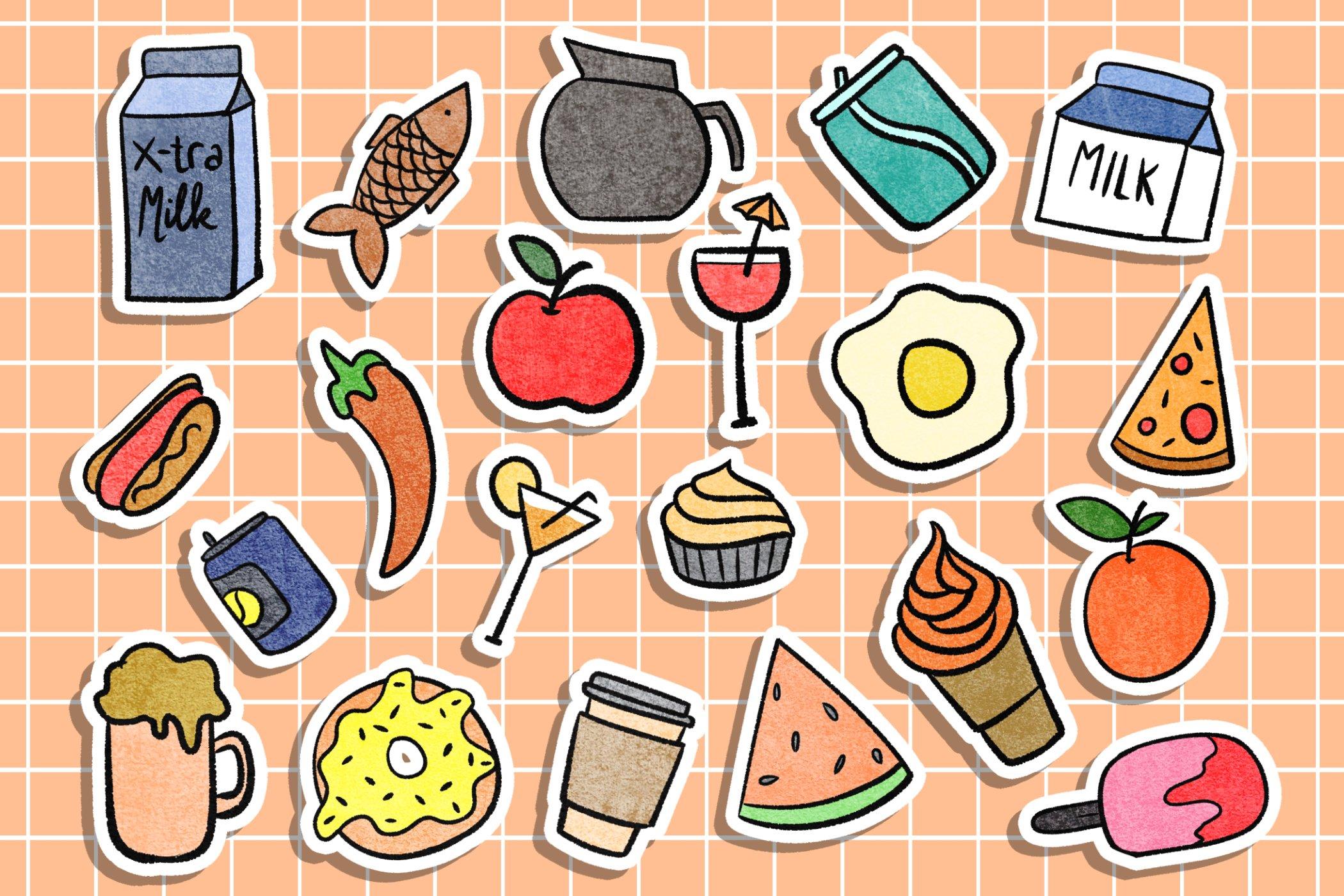 Beverage Stickers Tumblr Aesthetic Digital Download 690349 Stickers Design Bundles