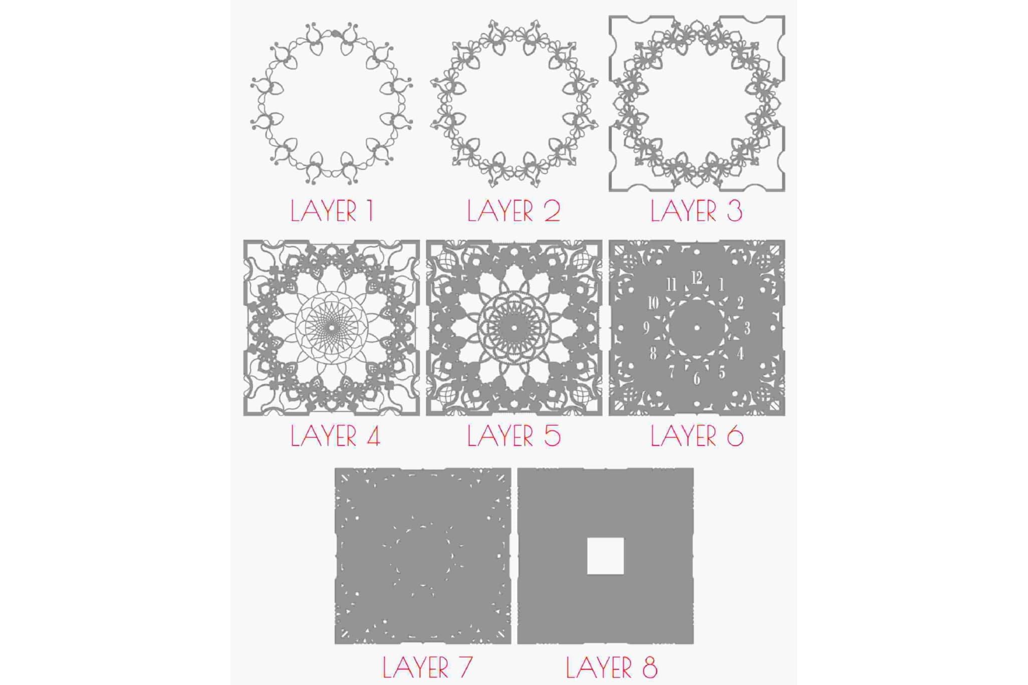 C13 - Mandala Clock DXF for Laser cut, Sacred Clock SVG example image 8
